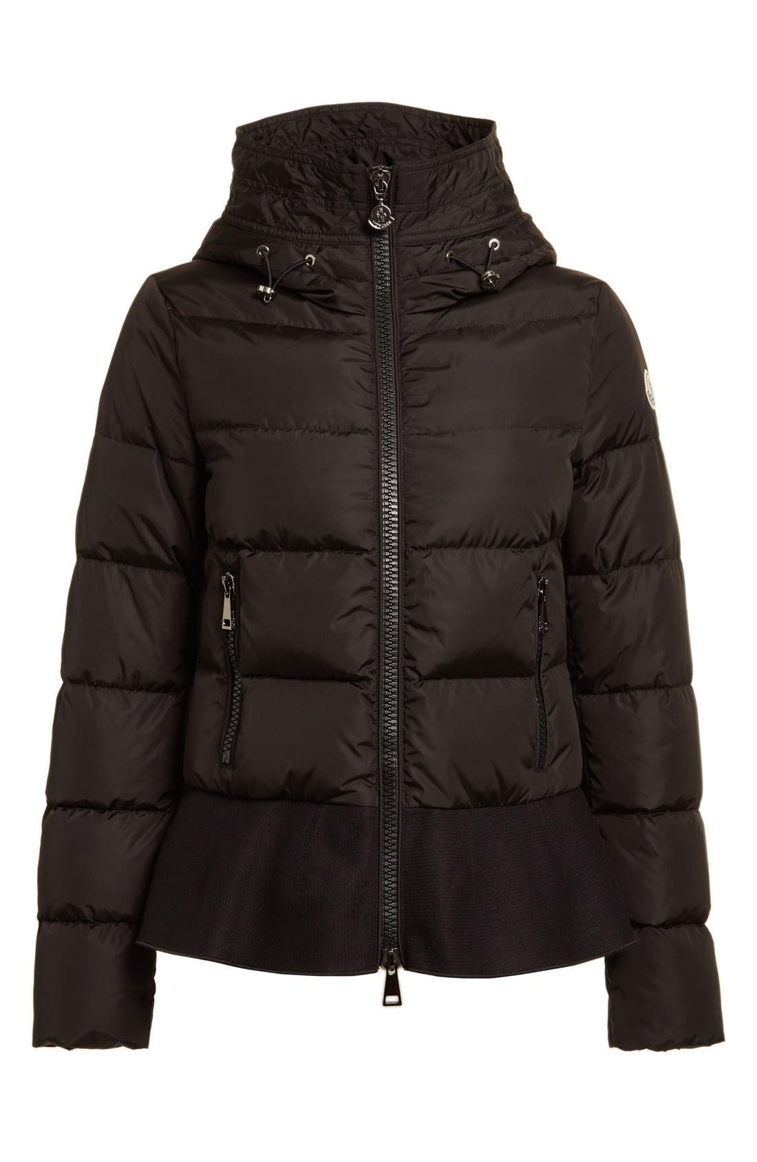 Nesea Peplum Hem Down Puffer Jacket,                             Alternate thumbnail 4, color,                             Black
