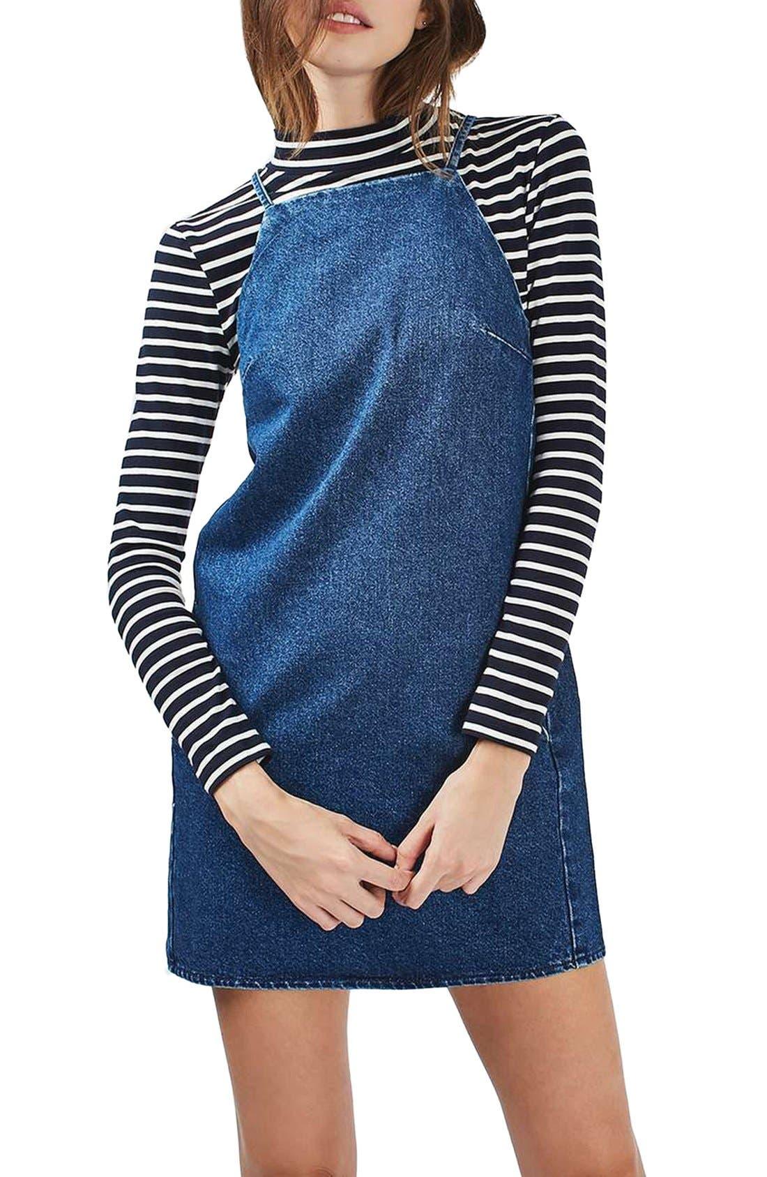 Alternate Image 1 Selected - Topshop Moto Denim Pinafore Dress