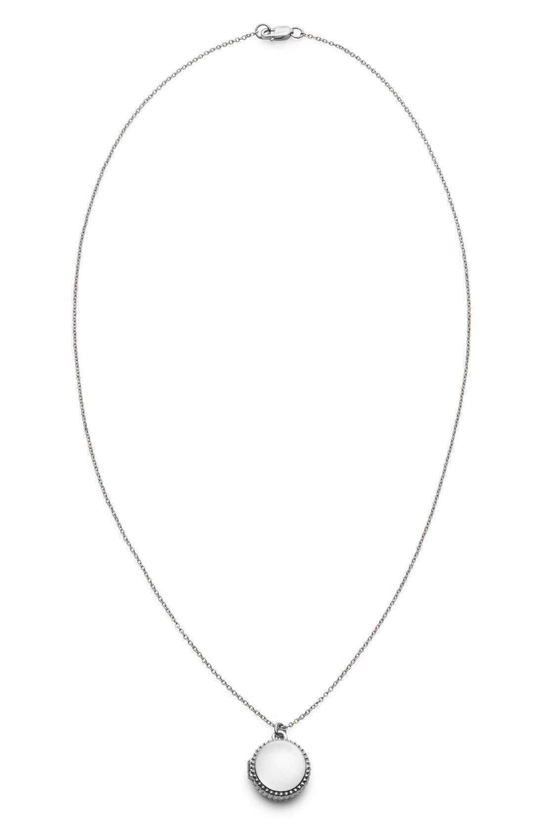 Coin Edge Locket Necklace,                             Main thumbnail 1, color,                             Silver