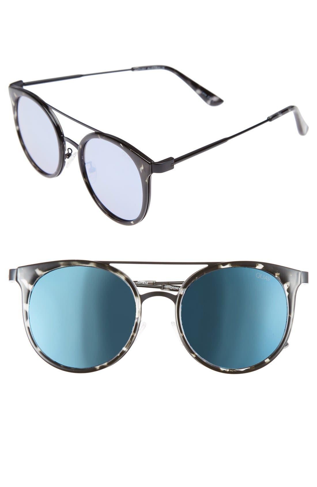 Kandy Gram 51mm Round Sunglasses,                         Main,                         color, Black Tort/ Blue