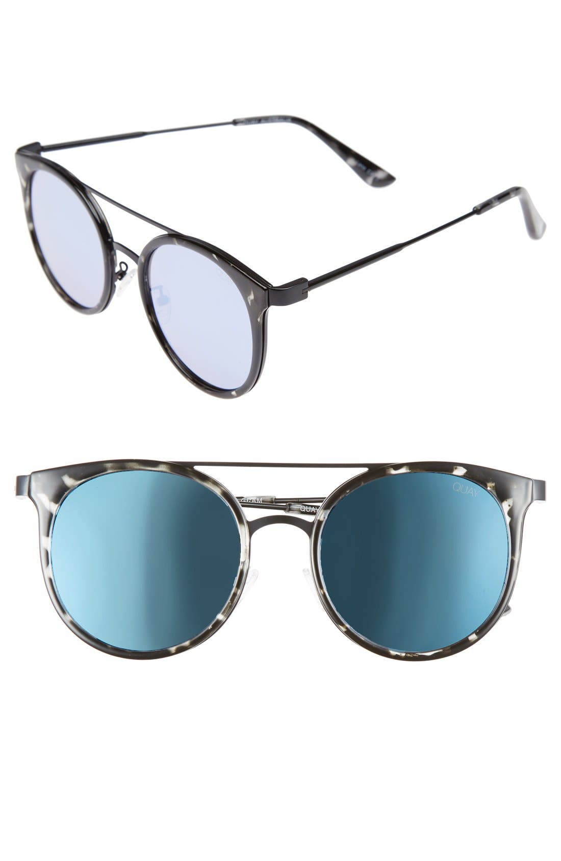 Kandy Gram 51mm Round Sunglasses,                         Main,                         color, Black Tort/ Blue