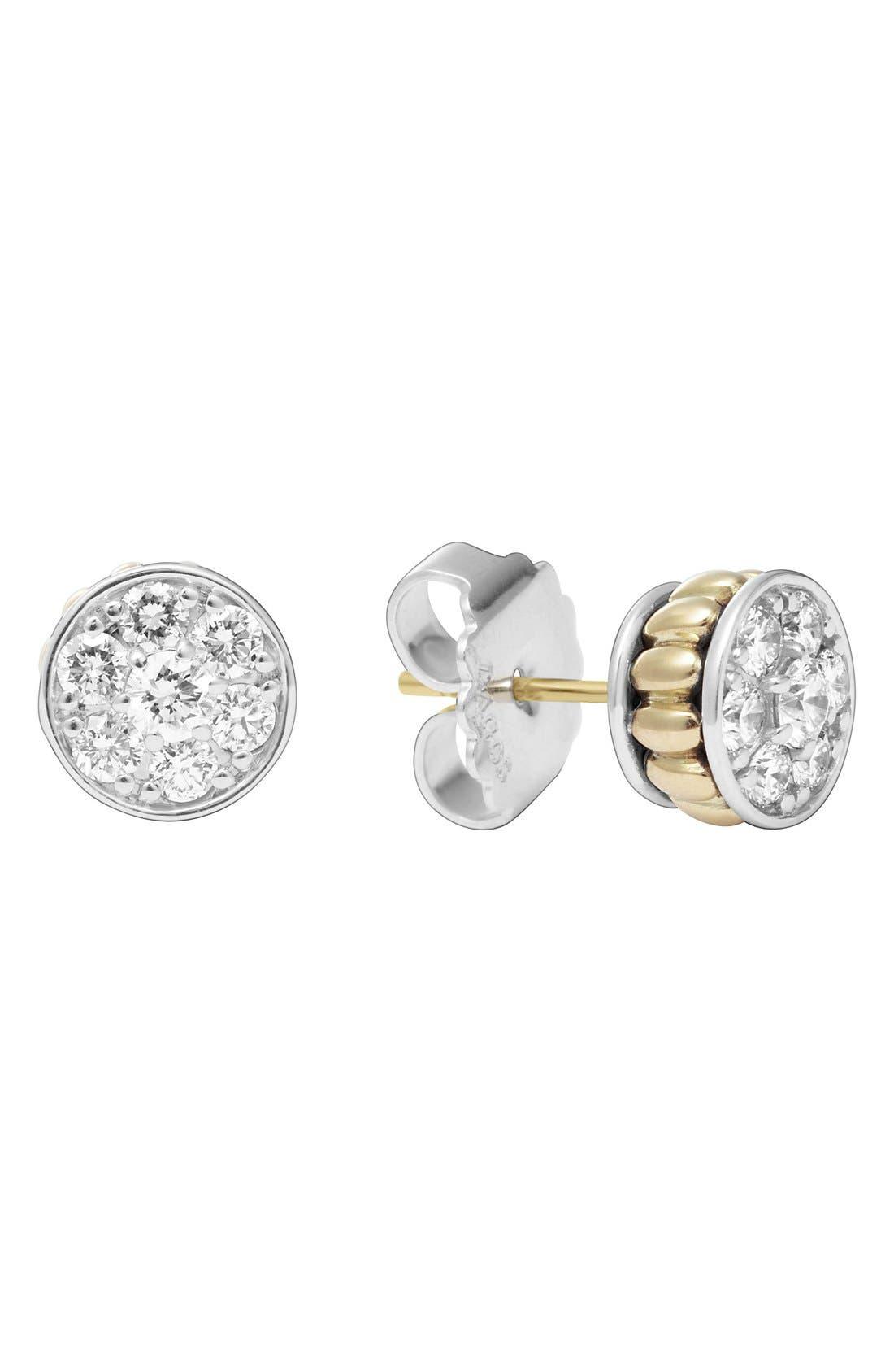 Diamond & Caviar Stud Earrings,                             Main thumbnail 1, color,                             Silver/ Gold
