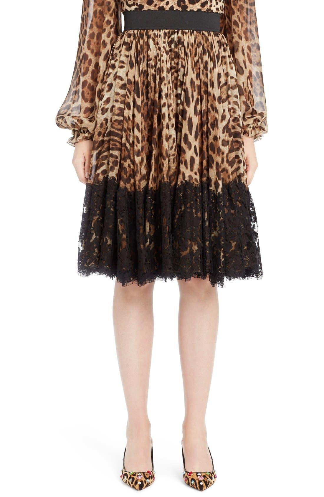 Lace Overlay Leopard Print Chiffon Full Skirt,                         Main,                         color, Leopard