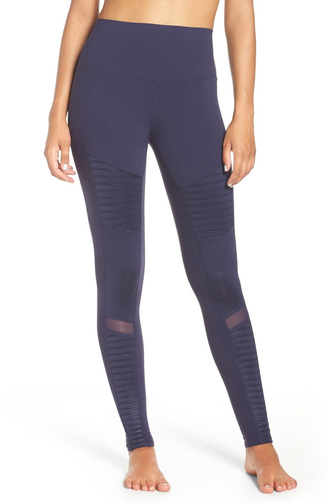 High Waist Moto Leggings,                         Main,                         color, Rich Navy/ Rich Navy Glossy