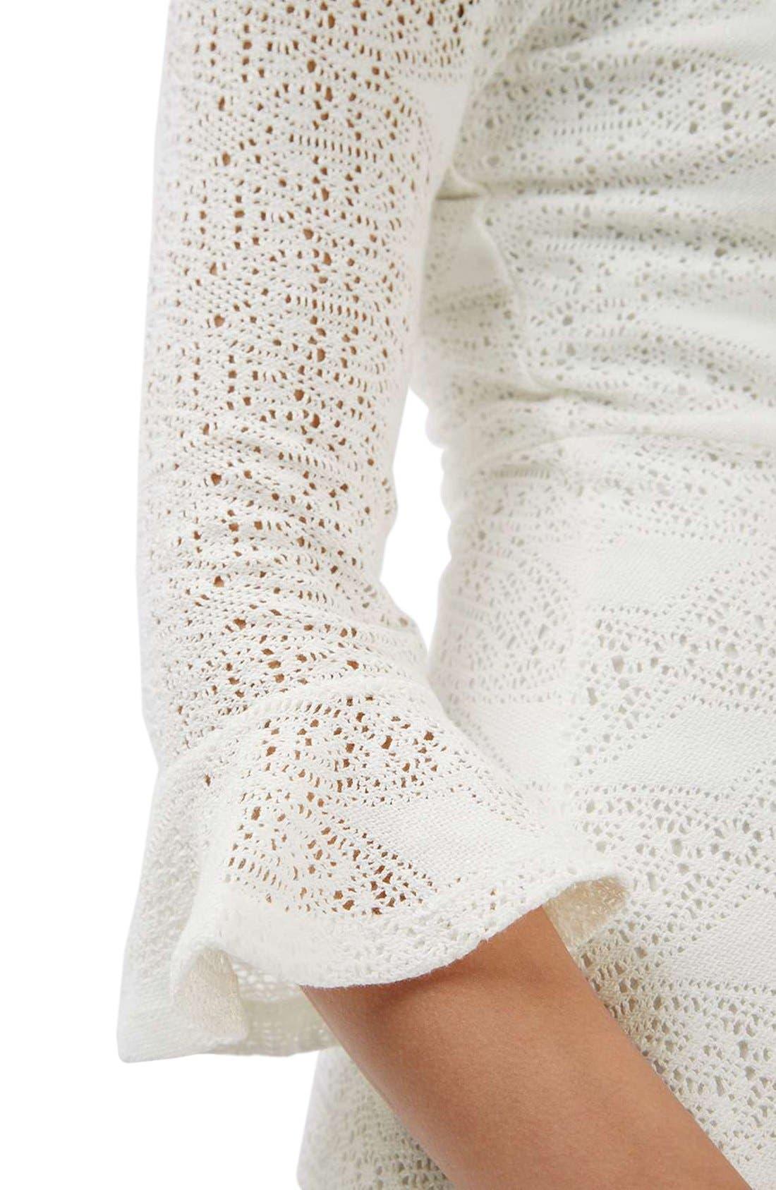 Alternate Image 5  - Topshop Flute Sleeve Crochet Dress