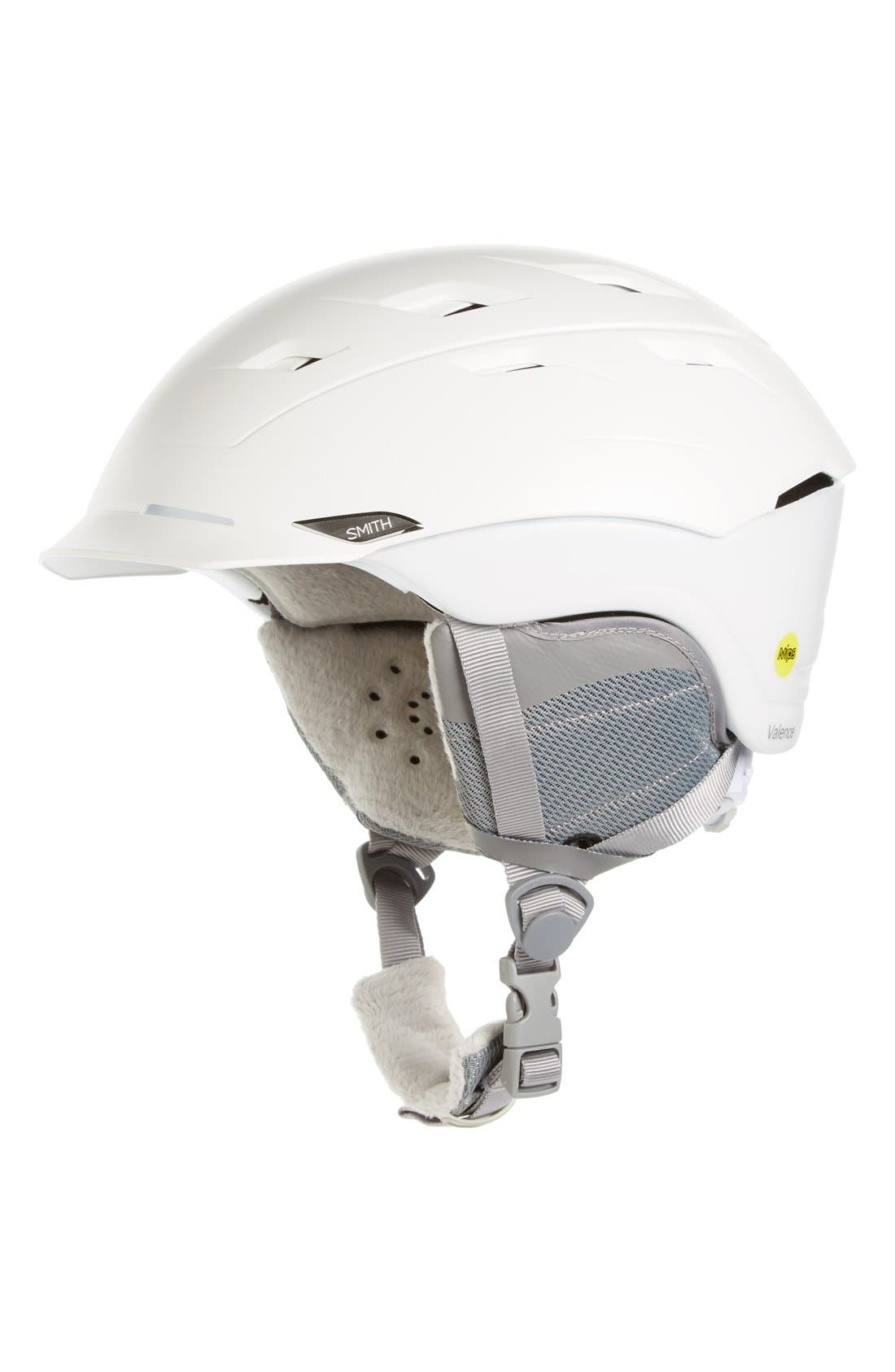 Valence Snow Helmet,                             Main thumbnail 1, color,                             Satin White