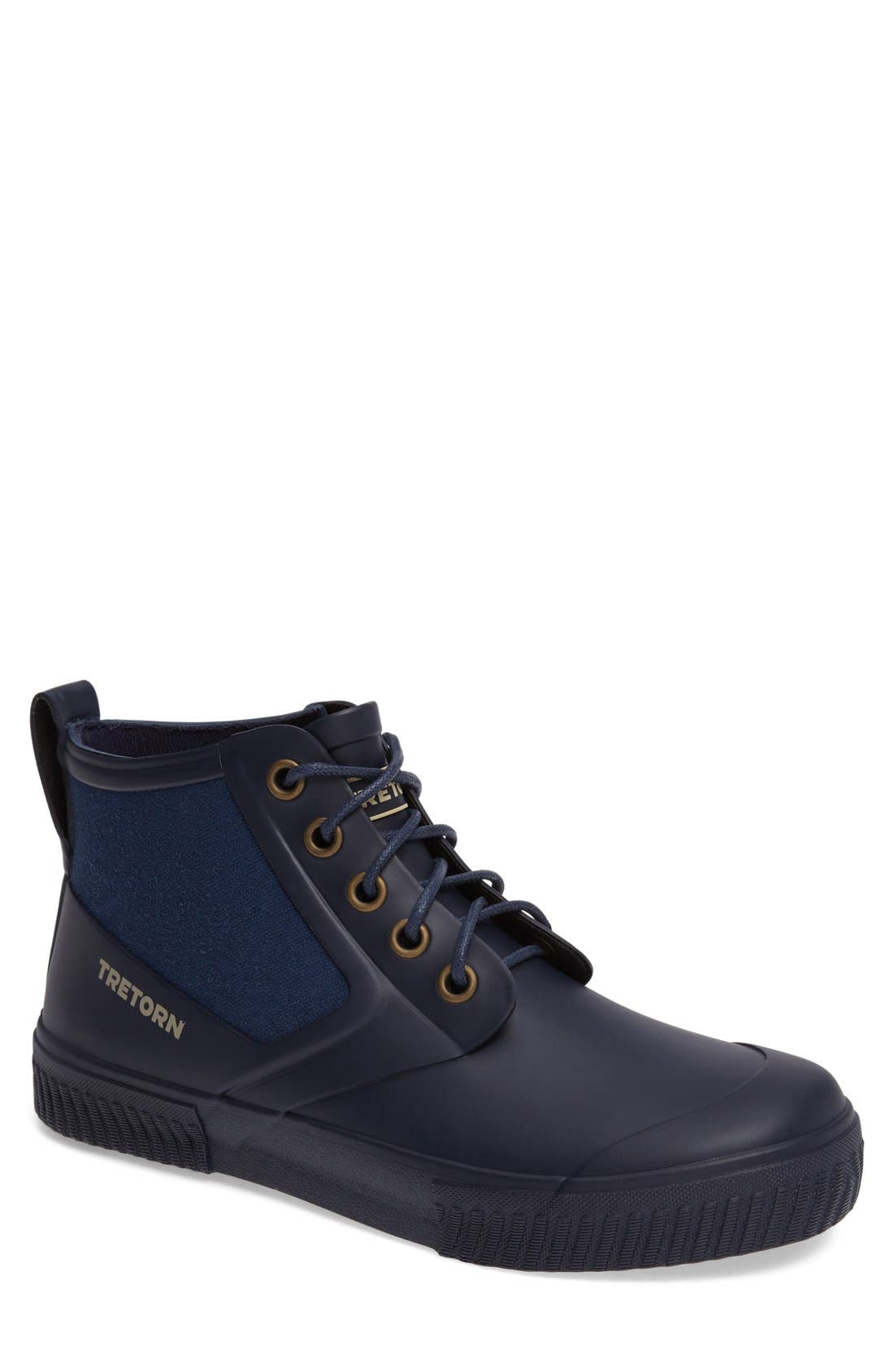 Mid Top Lace-Up Rain Boot,                         Main,                         color, Navy
