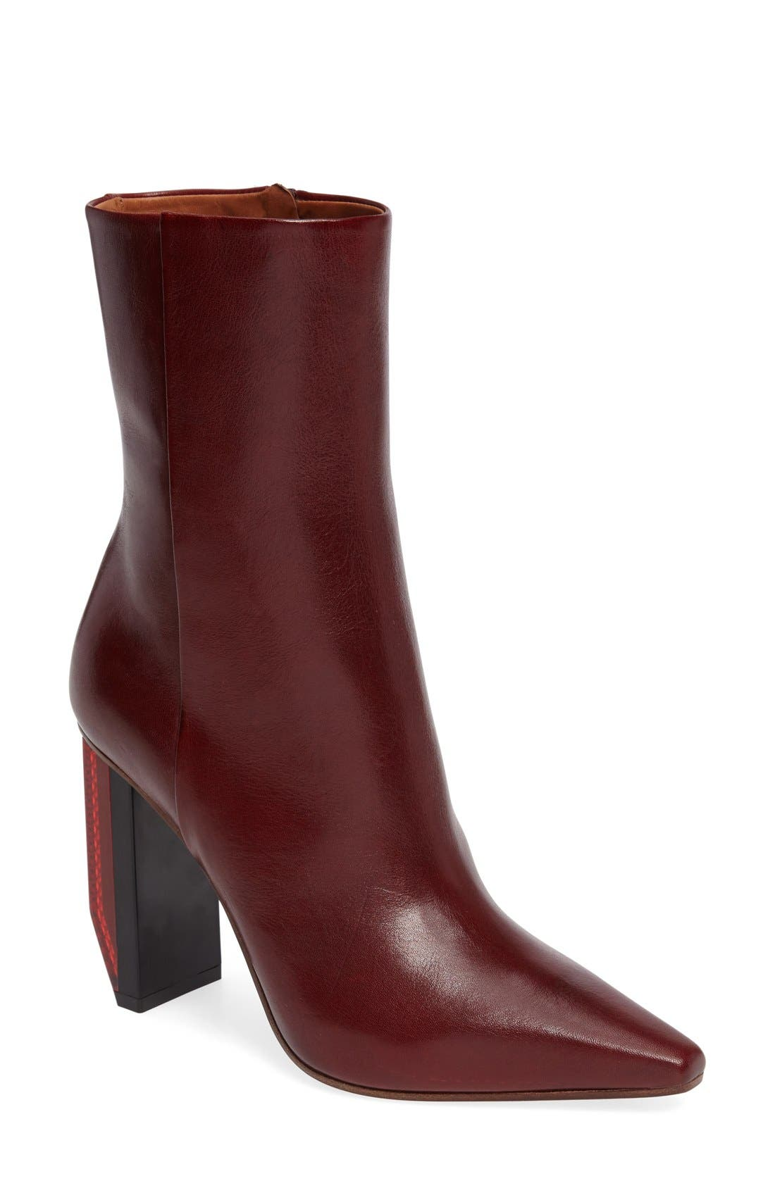 Reflector Heel Ankle Boot,                         Main,                         color, Burgundy/ Red Heel
