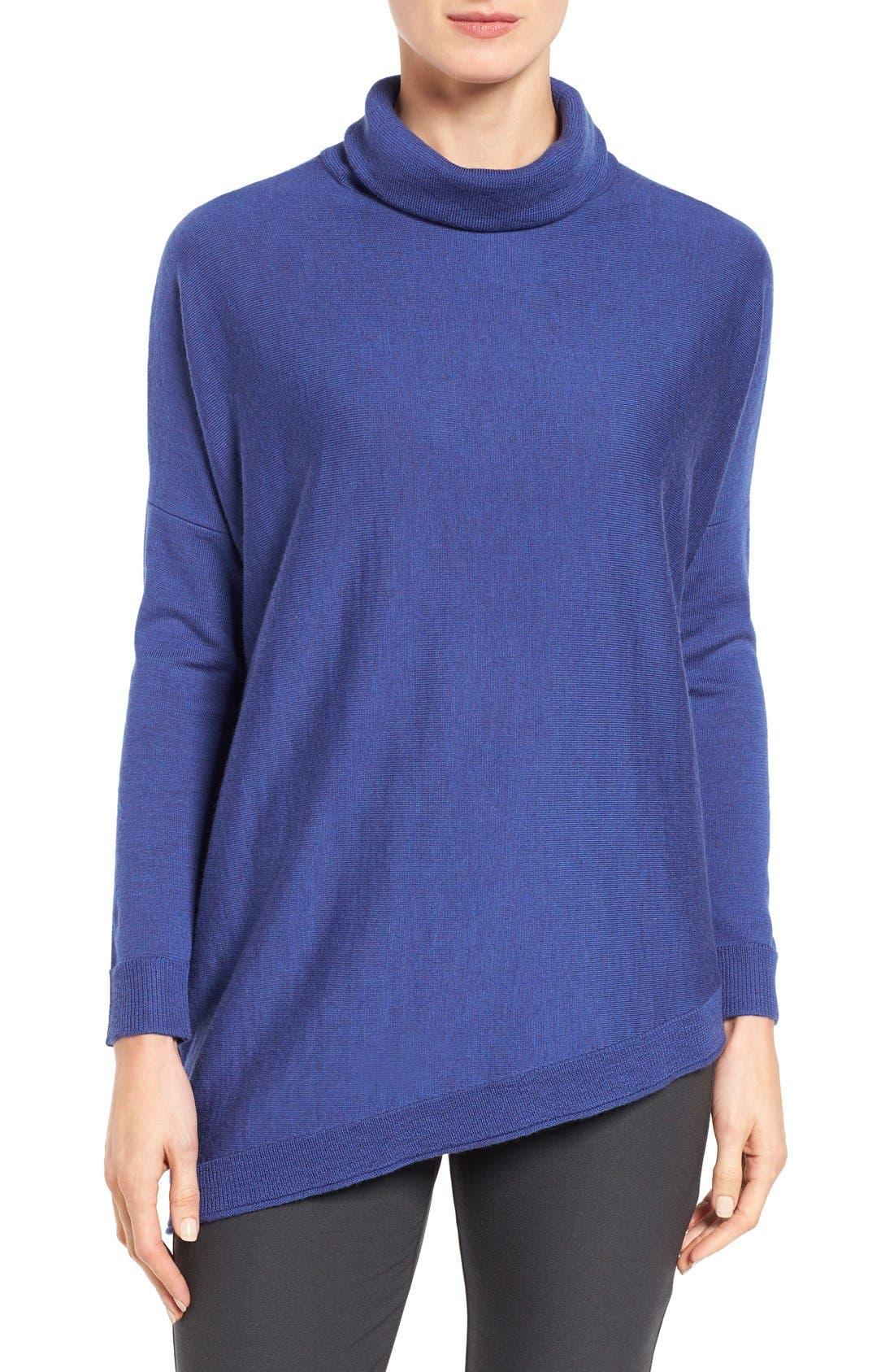 Main Image - Eileen Fisher Asymmetrical Merino Jersey Turtleneck (Regular & Petite)