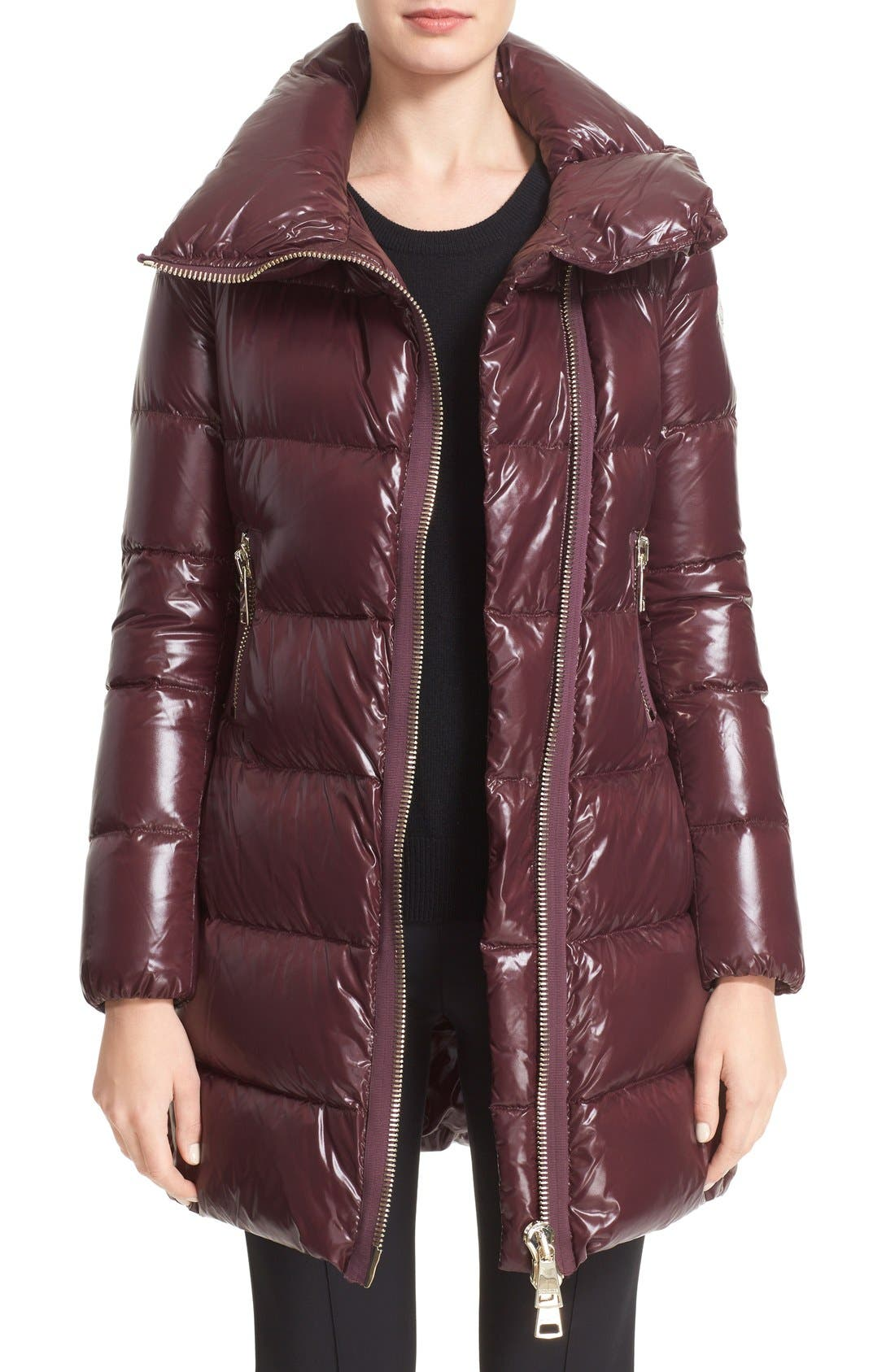 'Joinville' Water Resistant High Collar Down Puffer Coat,                         Main,                         color, Burgundy