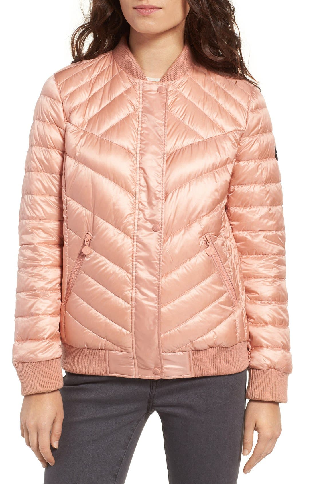 Water Resistant Insulated Bomber Jacket,                             Alternate thumbnail 6, color,                             Peach Blush