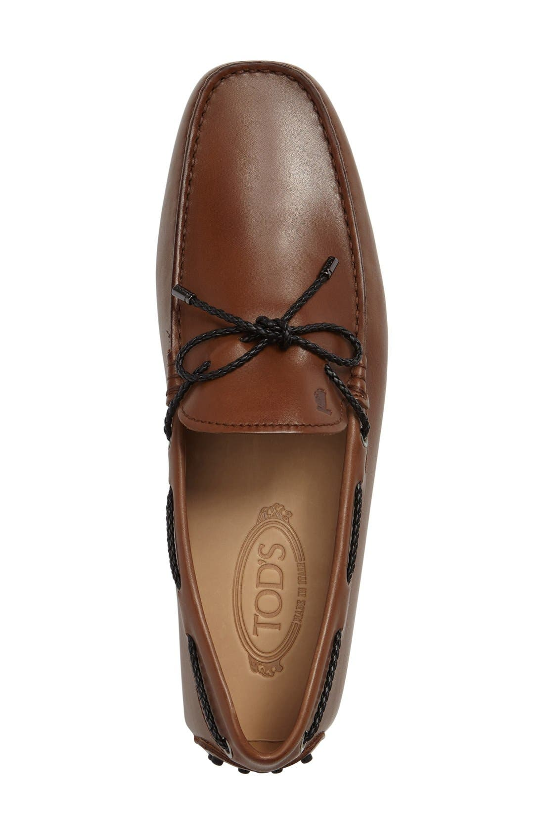 Tods Gommini Driving Shoe,                             Alternate thumbnail 3, color,                             Light Brown Leather