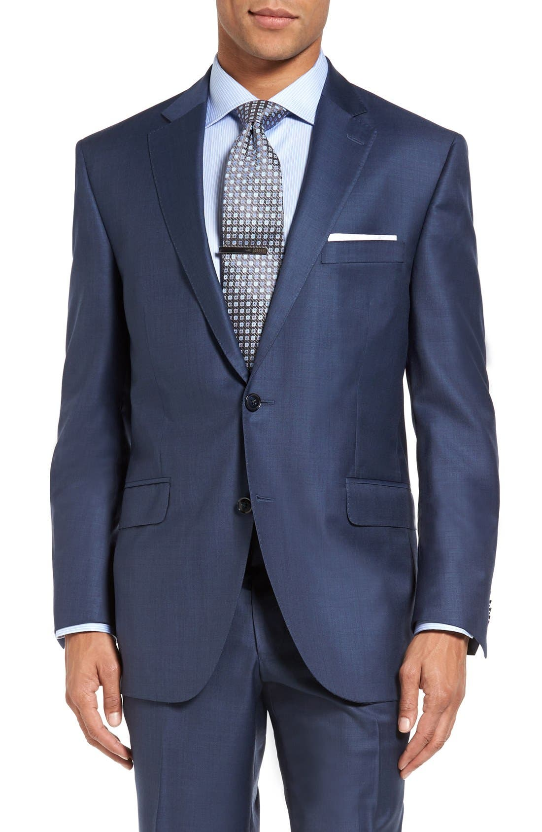 Flynn Classic Fit Wool Suit,                             Alternate thumbnail 4, color,                             Blue