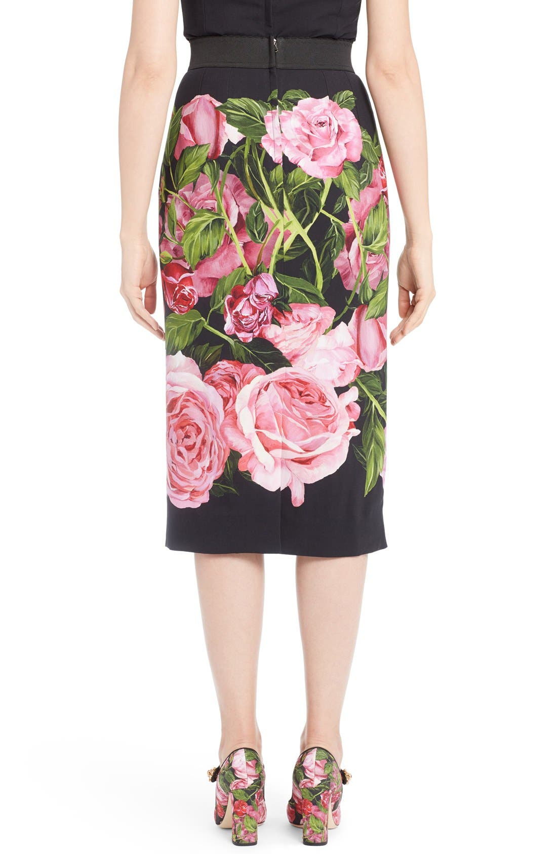 Alternate Image 2  - Dolce&Gabbana Rose Print Cady Pencil Skirt