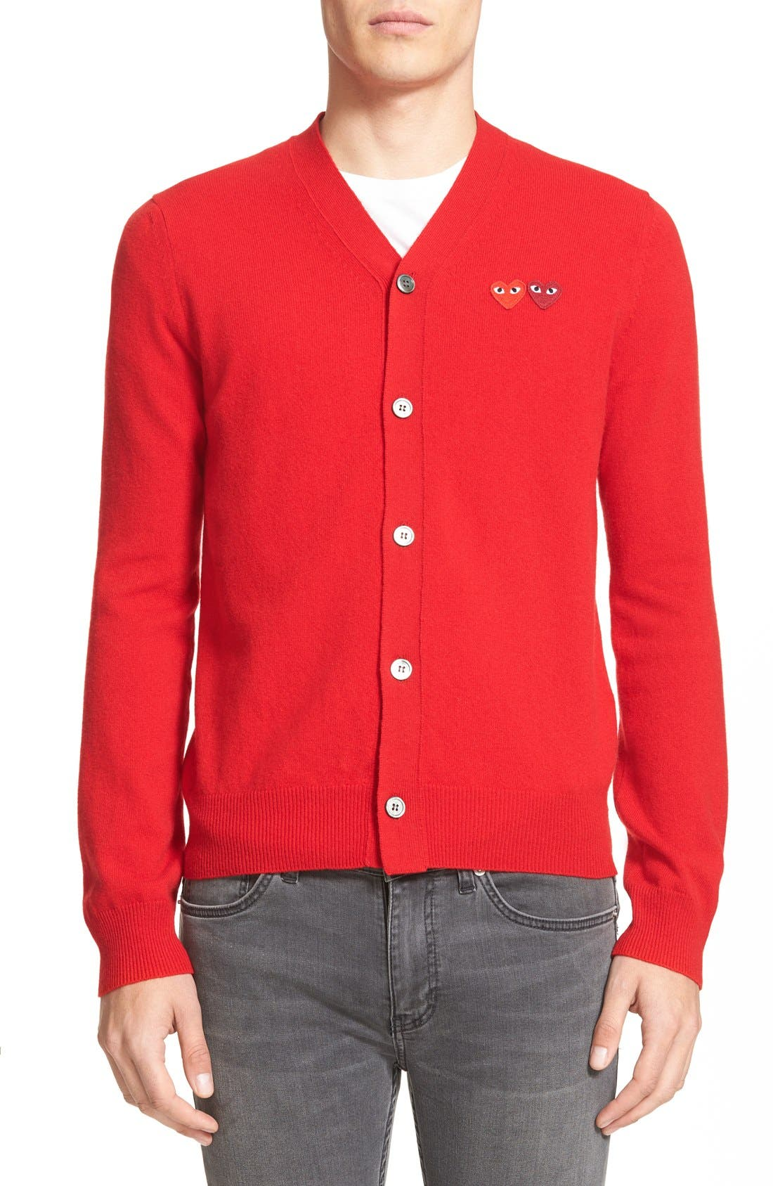 PLAY Double Heart Wool Cardigan,                         Main,                         color, Red