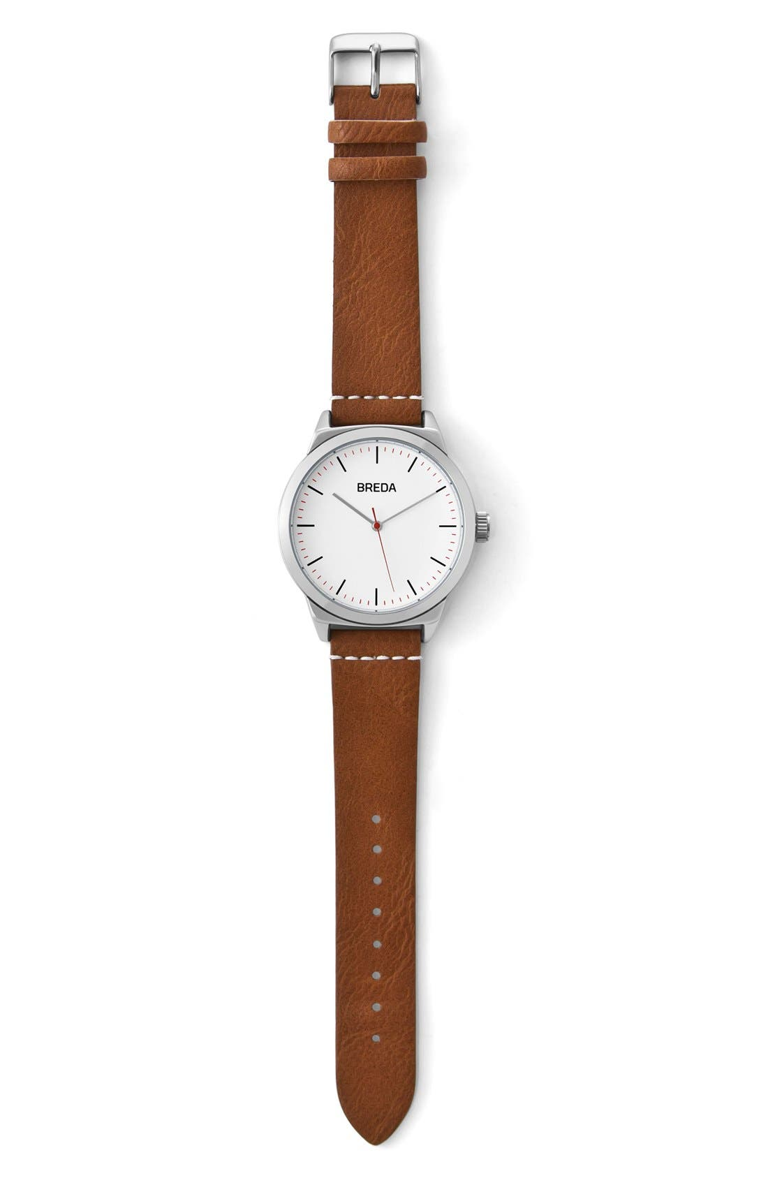 Rand Round Leather Strap Watch, 43mm,                             Alternate thumbnail 3, color,                             Silver/ Brown