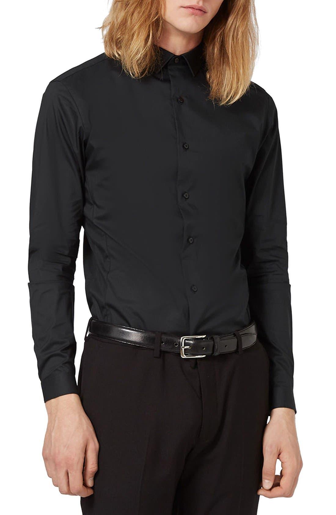 Skinny Fit Stretch Dress Shirt,                         Main,                         color, Black