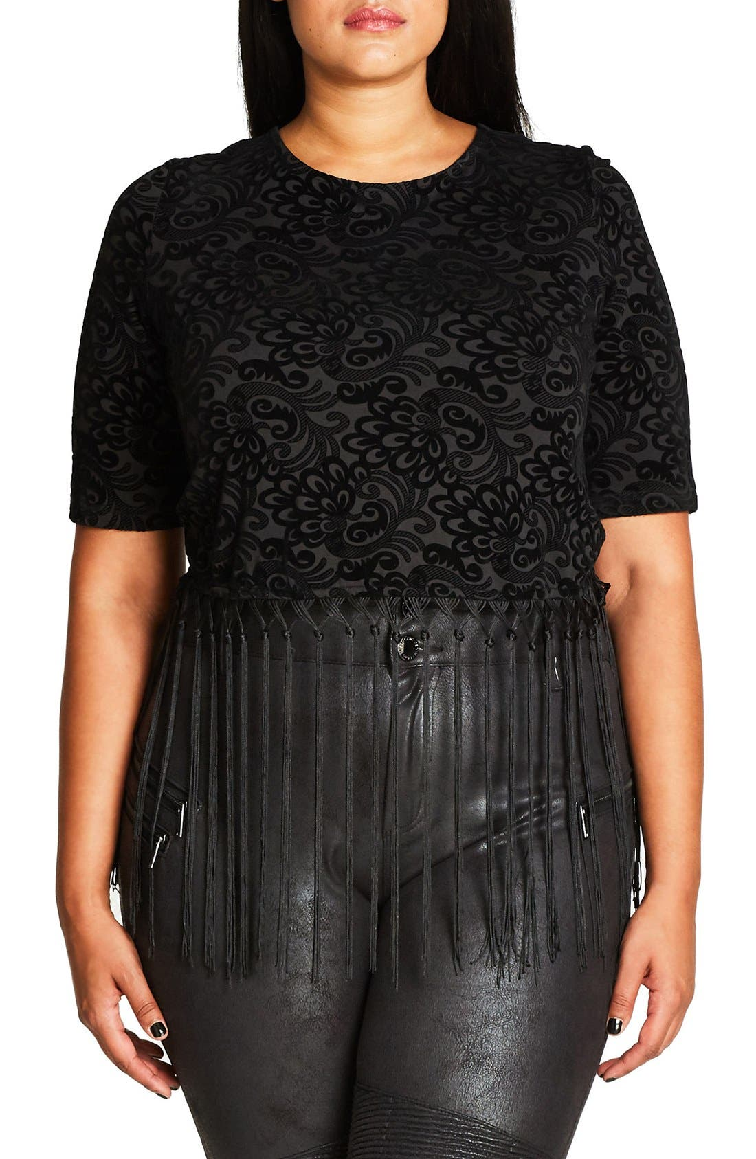 Alternate Image 1 Selected - City Chic Fringed Velour Burnout Crop Top (Plus Size)