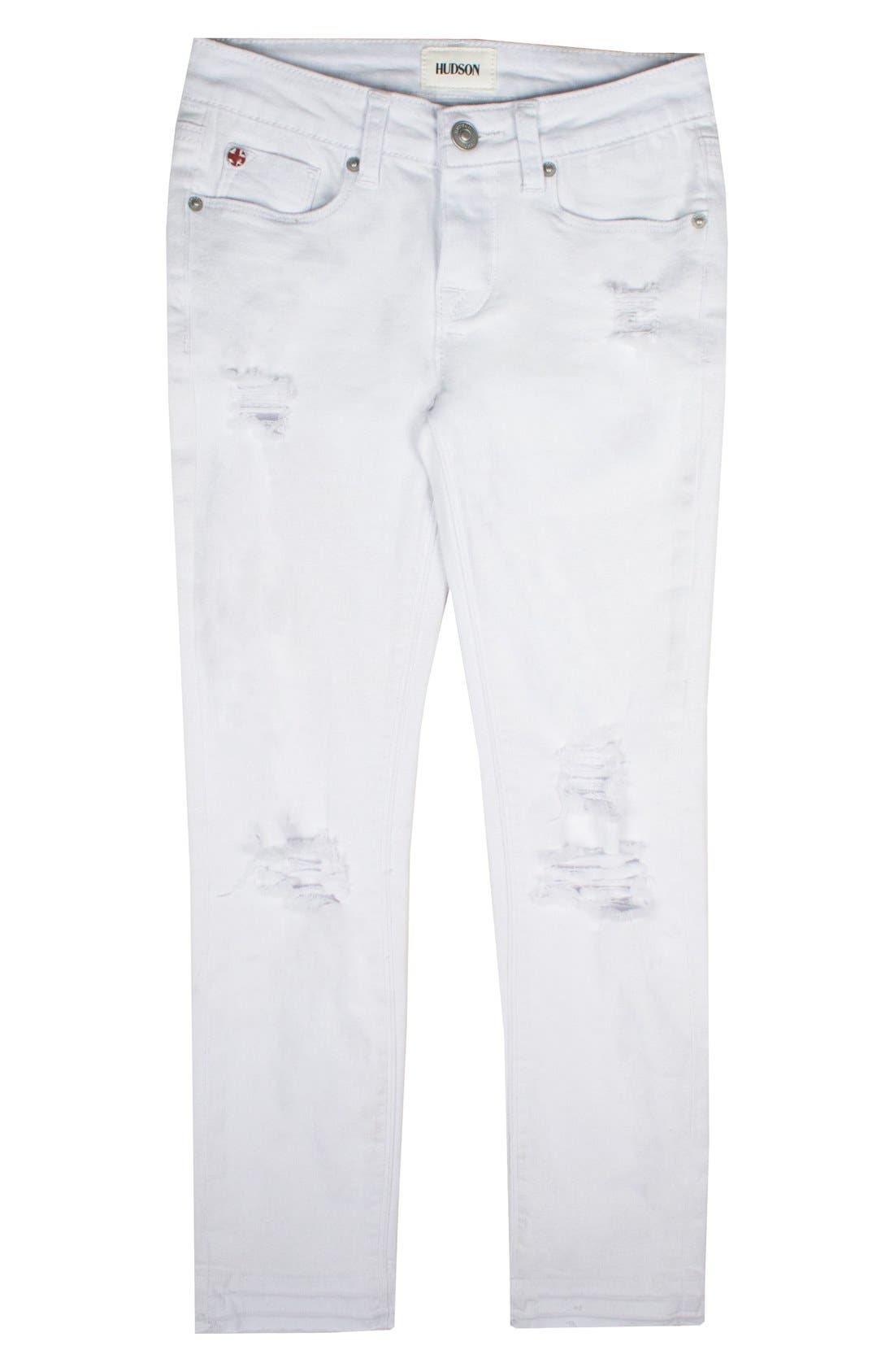 Seaside Crop Skinny Jeans,                             Main thumbnail 1, color,                             White Abyss