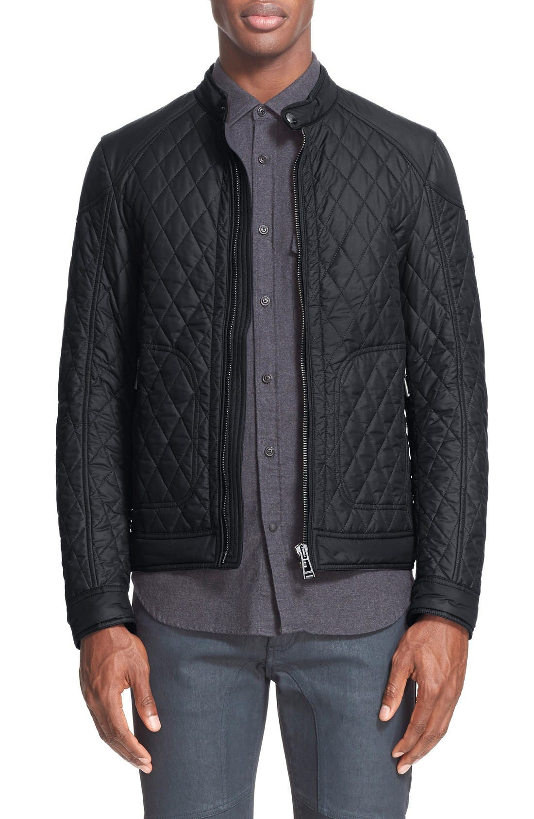 Bramley Quilted Moto Jacket,                             Main thumbnail 1, color,                             Black