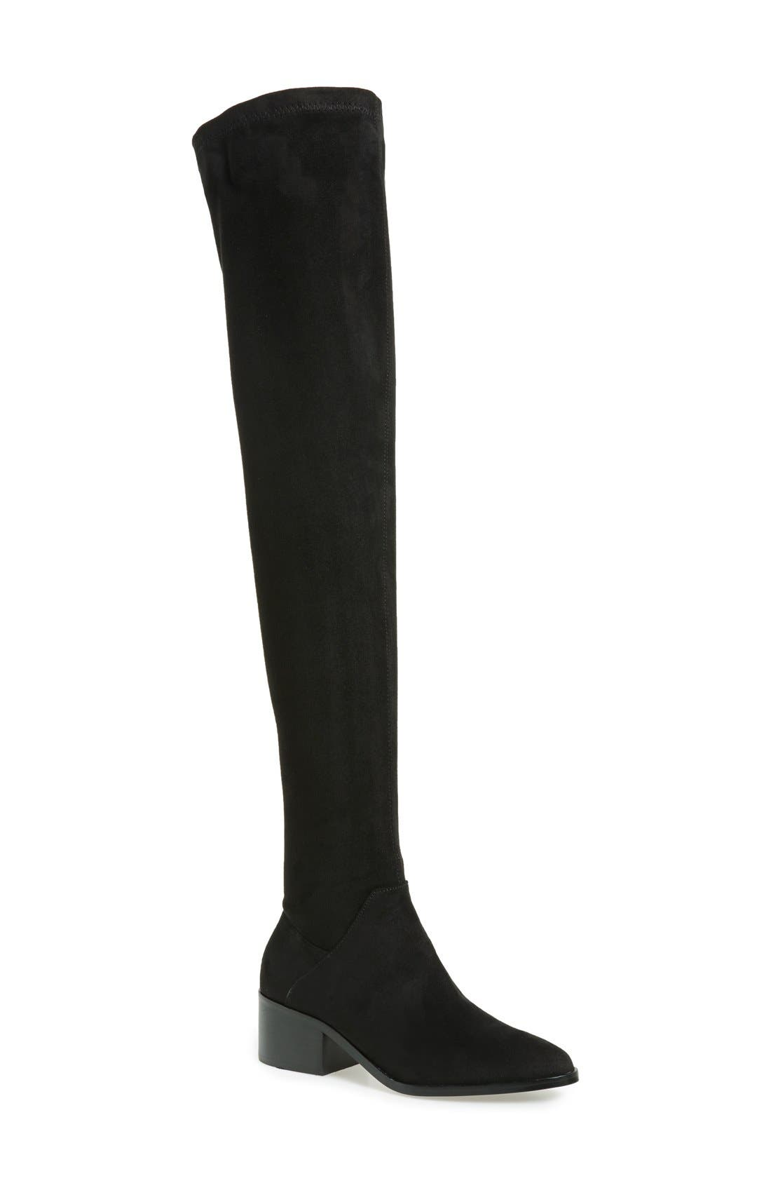 Gabriana Stretch Over the Knee Boot,                             Main thumbnail 1, color,                             Black