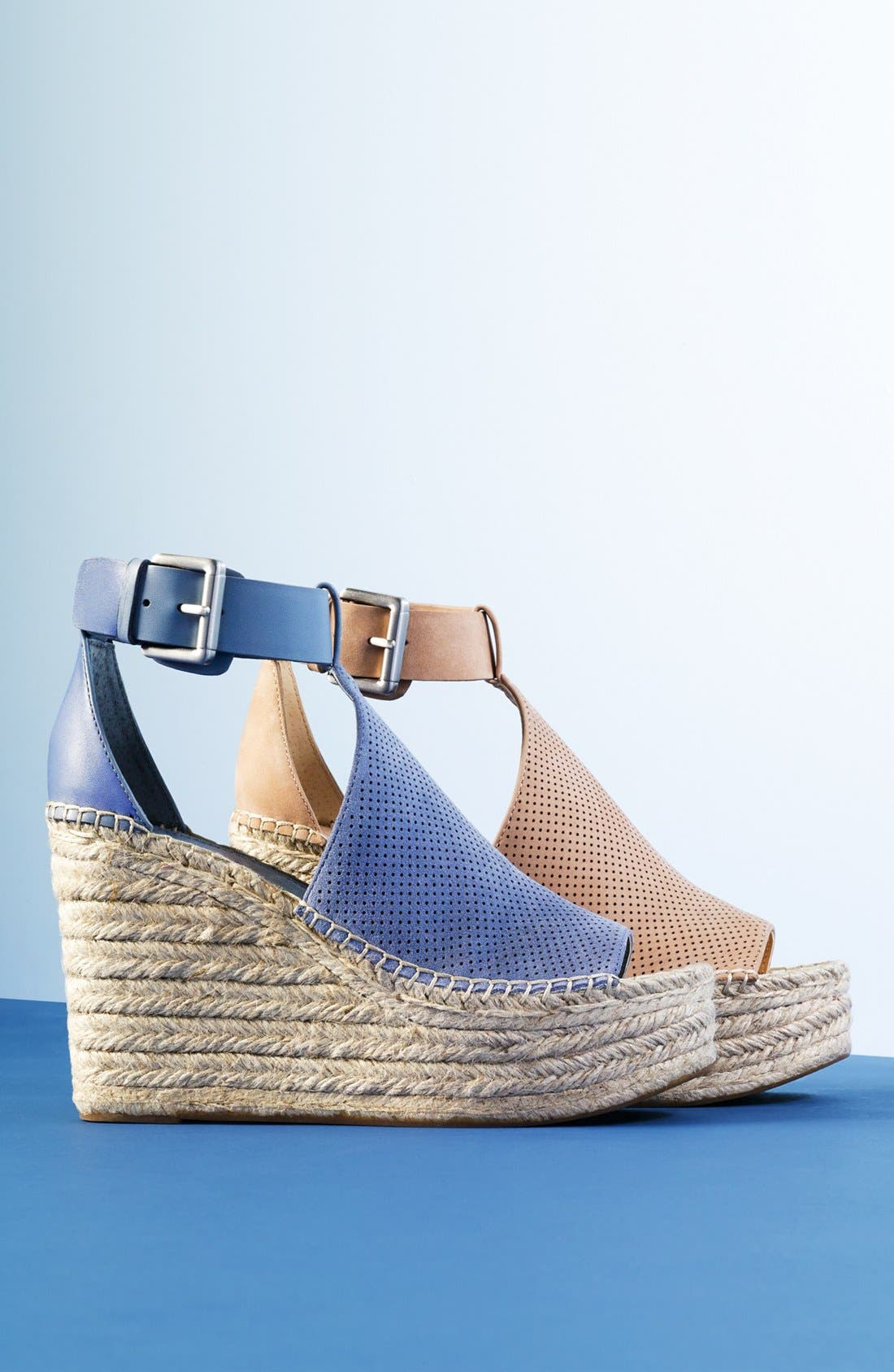 Annie Perforated Espadrille Platform Wedge,                             Alternate thumbnail 4, color,