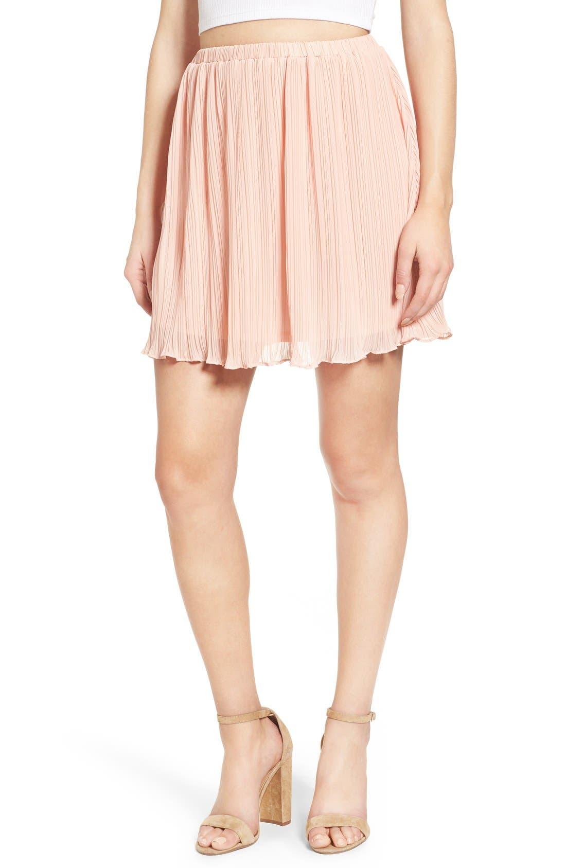 Main Image - Lush Pleated Chiffon Miniskirt
