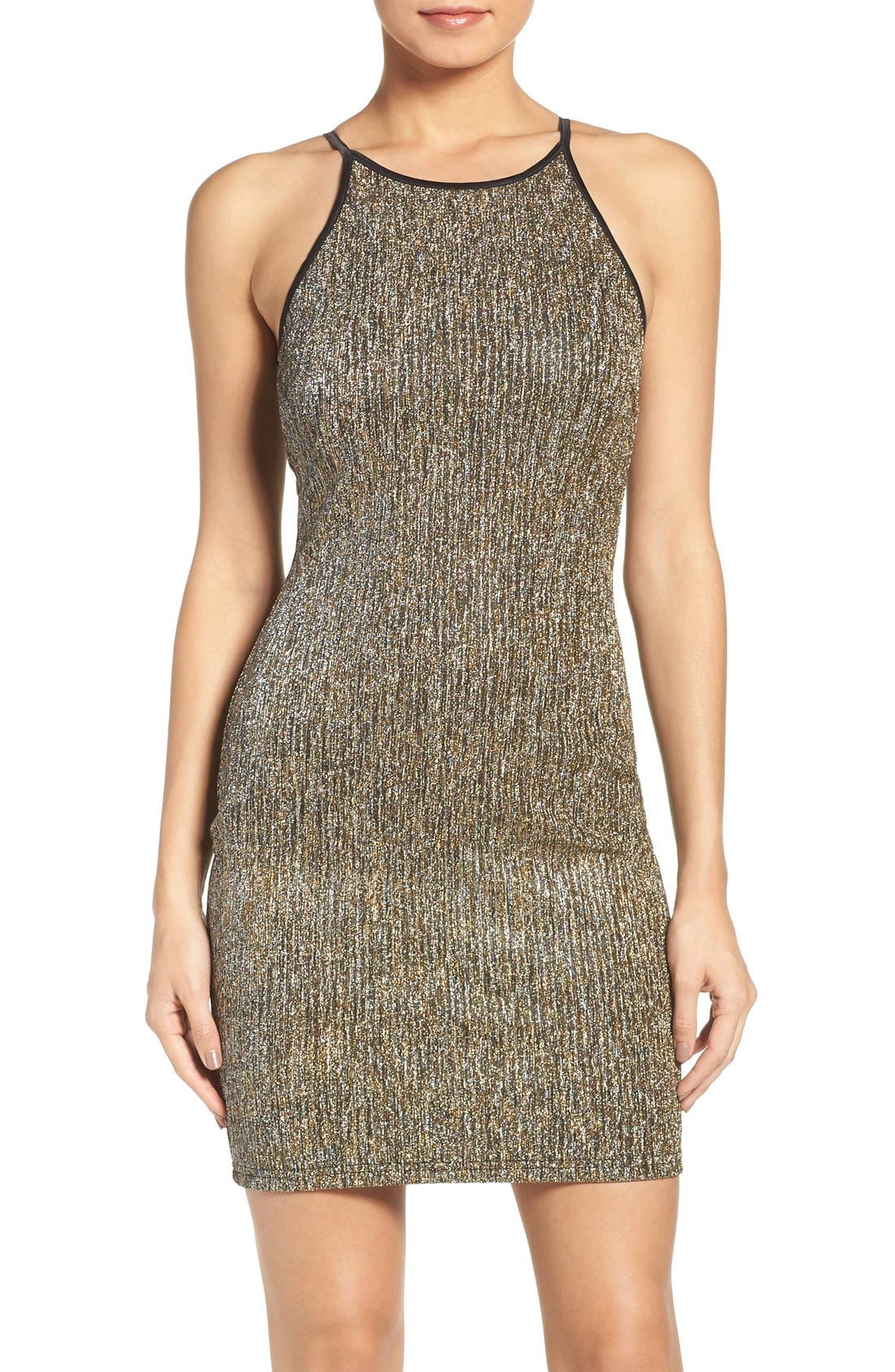 Alternate Image 1 Selected - Gerylin Metallic Knit Body-Con Dress