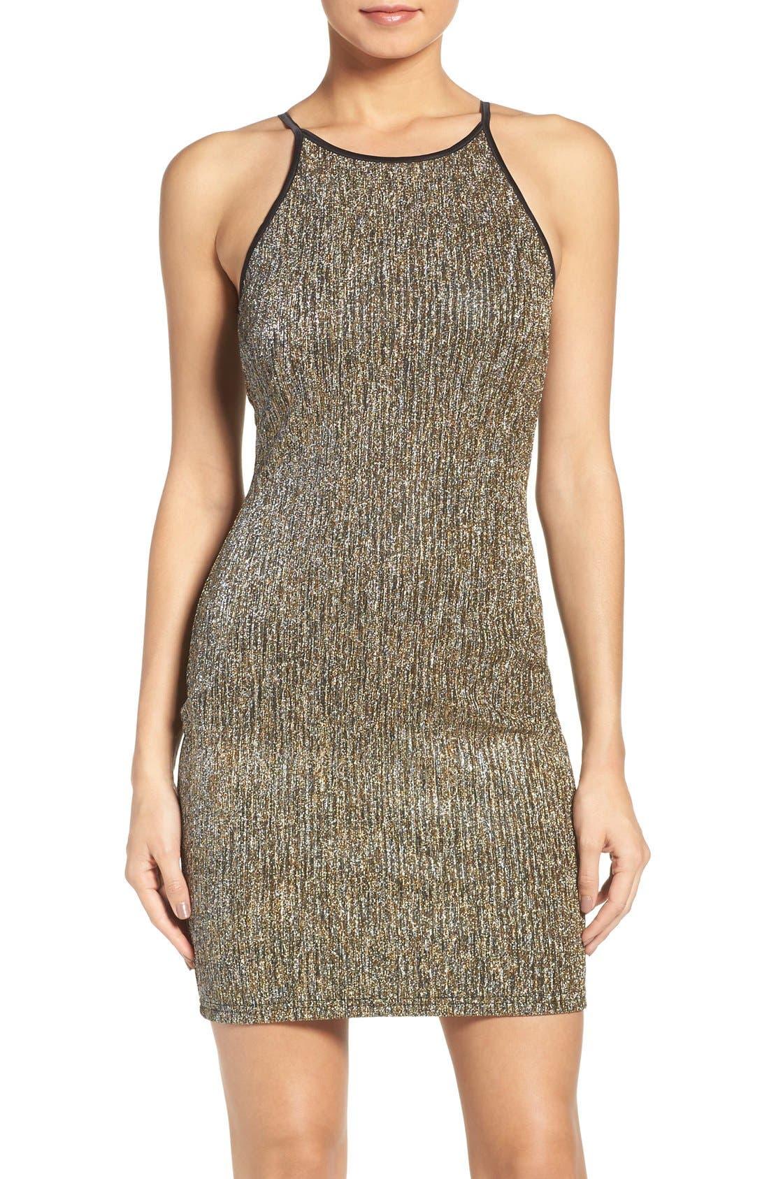 Main Image - Gerylin Metallic Knit Body-Con Dress