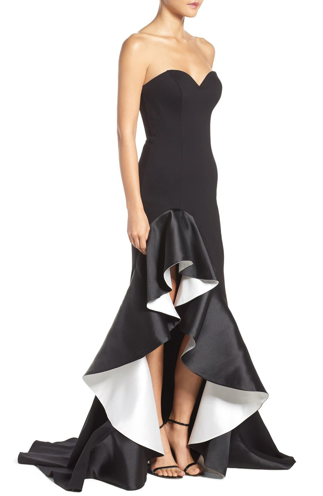Alternate Image 4  - Jovani Asymmetrical Sweetheart Gown