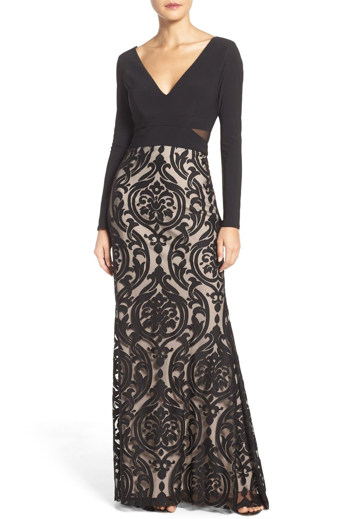 Xscape Jersey & Burnout Mesh Gown (Regular & Petite)