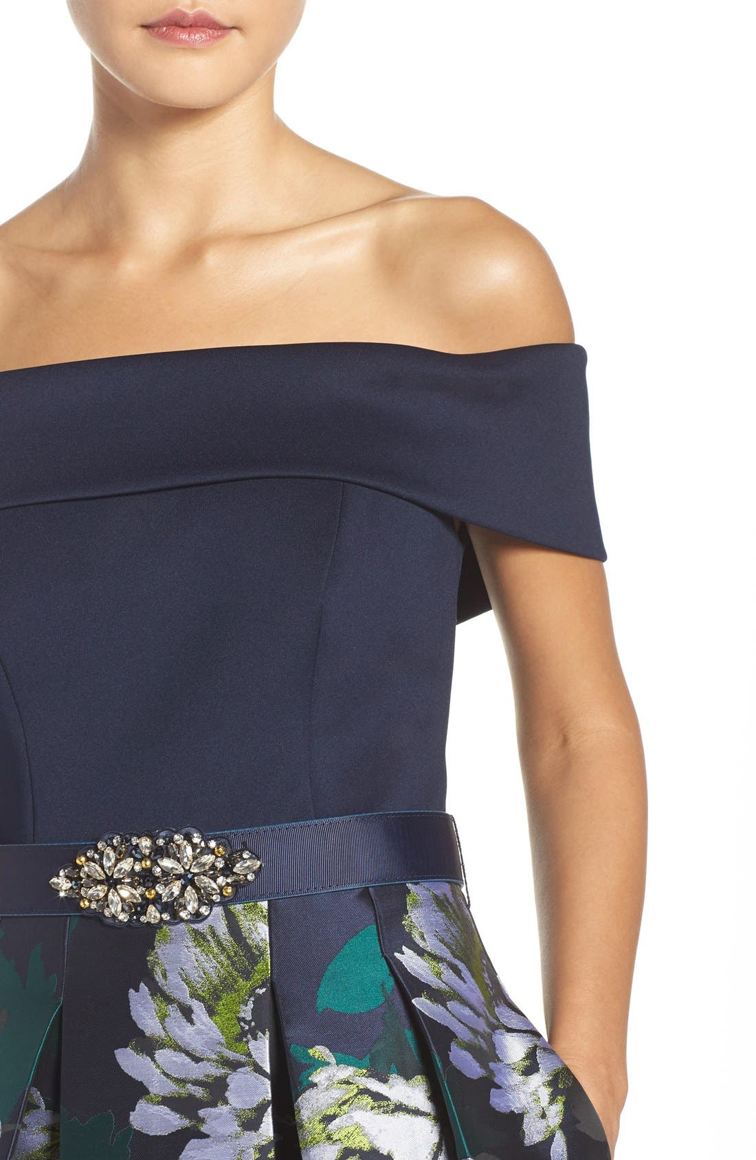 Off the Shoulder Ballgown,                             Alternate thumbnail 4, color,                             Navy/ Lime