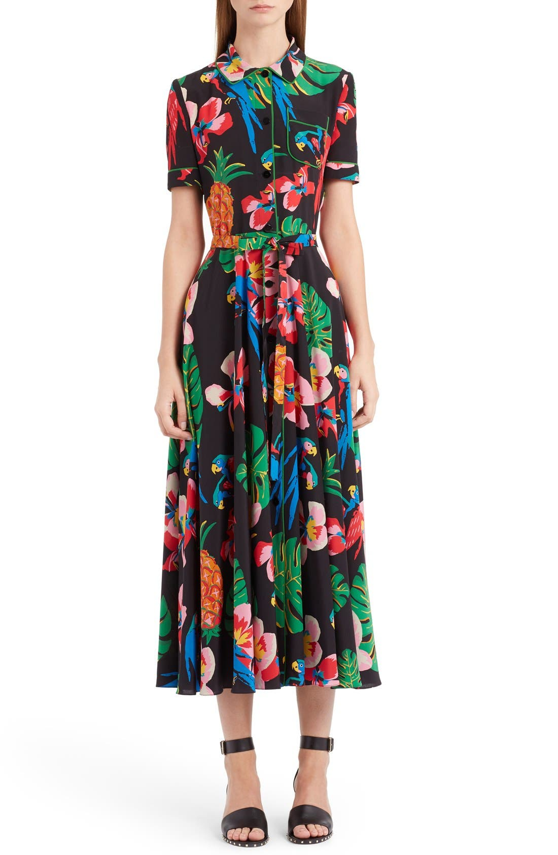 Main Image - Valentino Tropical Dream Print Silk Dress