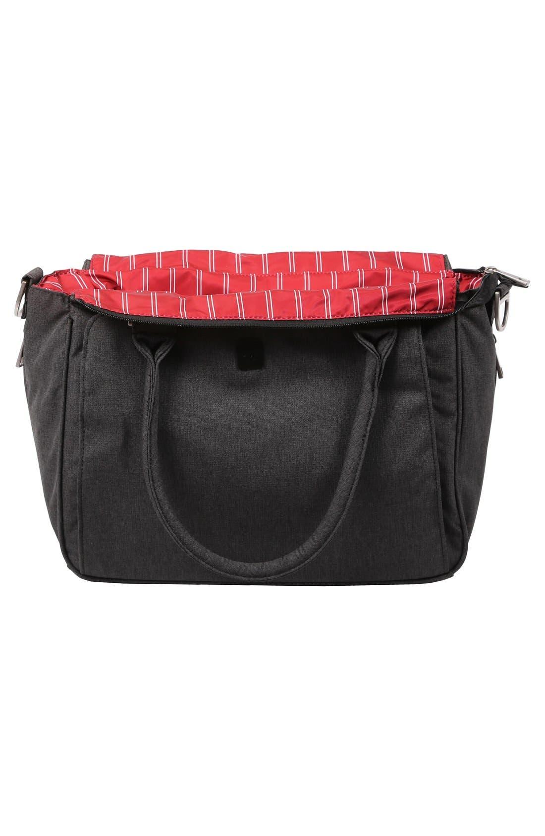 'Be Classy - Onyx Collection' Messenger Diaper Bag,                             Alternate thumbnail 6, color,                             Chrome