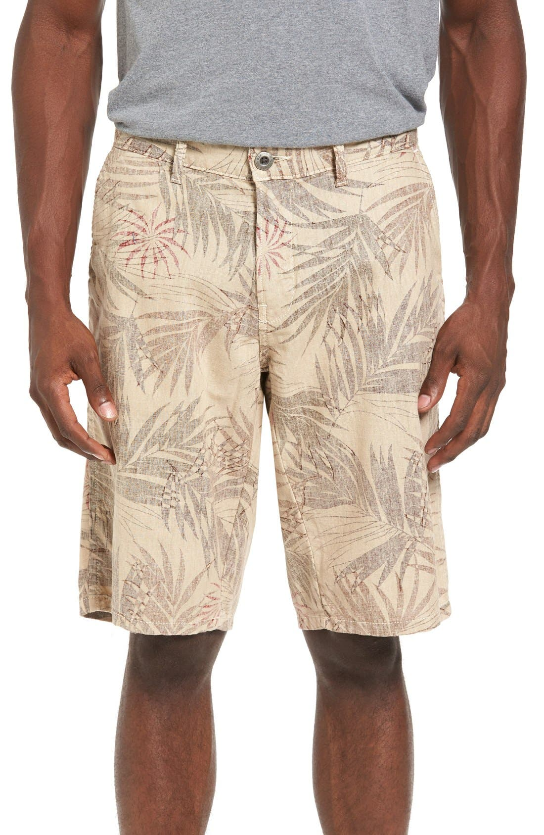Havana Print Linen Shorts,                         Main,                         color, Bone