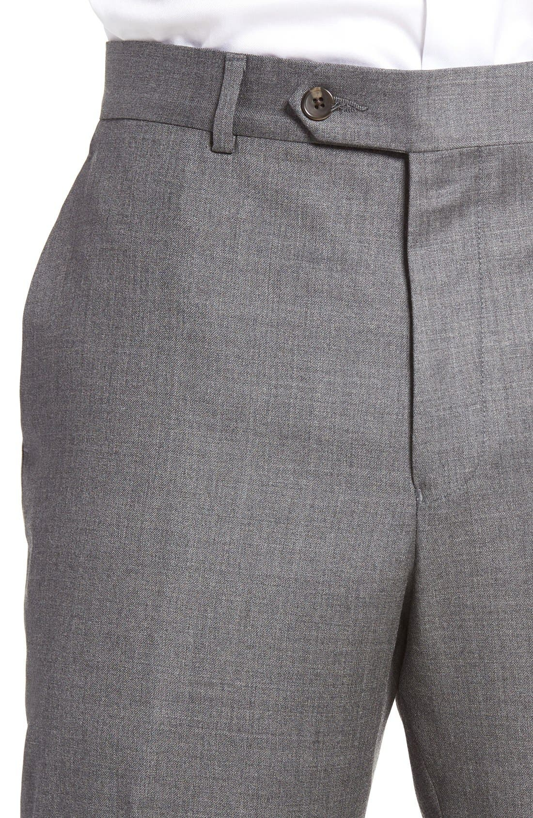 Dagger Flat Front Solid Wool Trousers,                             Alternate thumbnail 4, color,                             Medium Grey