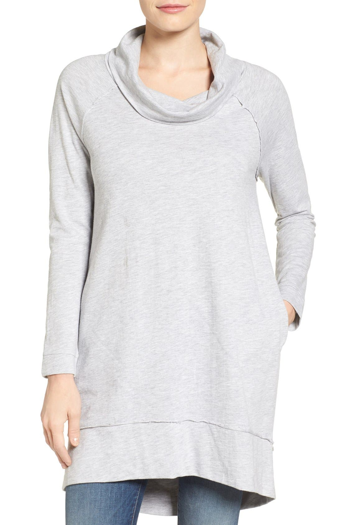 Caslon® Cowl Neck Tunic Sweatshirt (Regular & Petite)