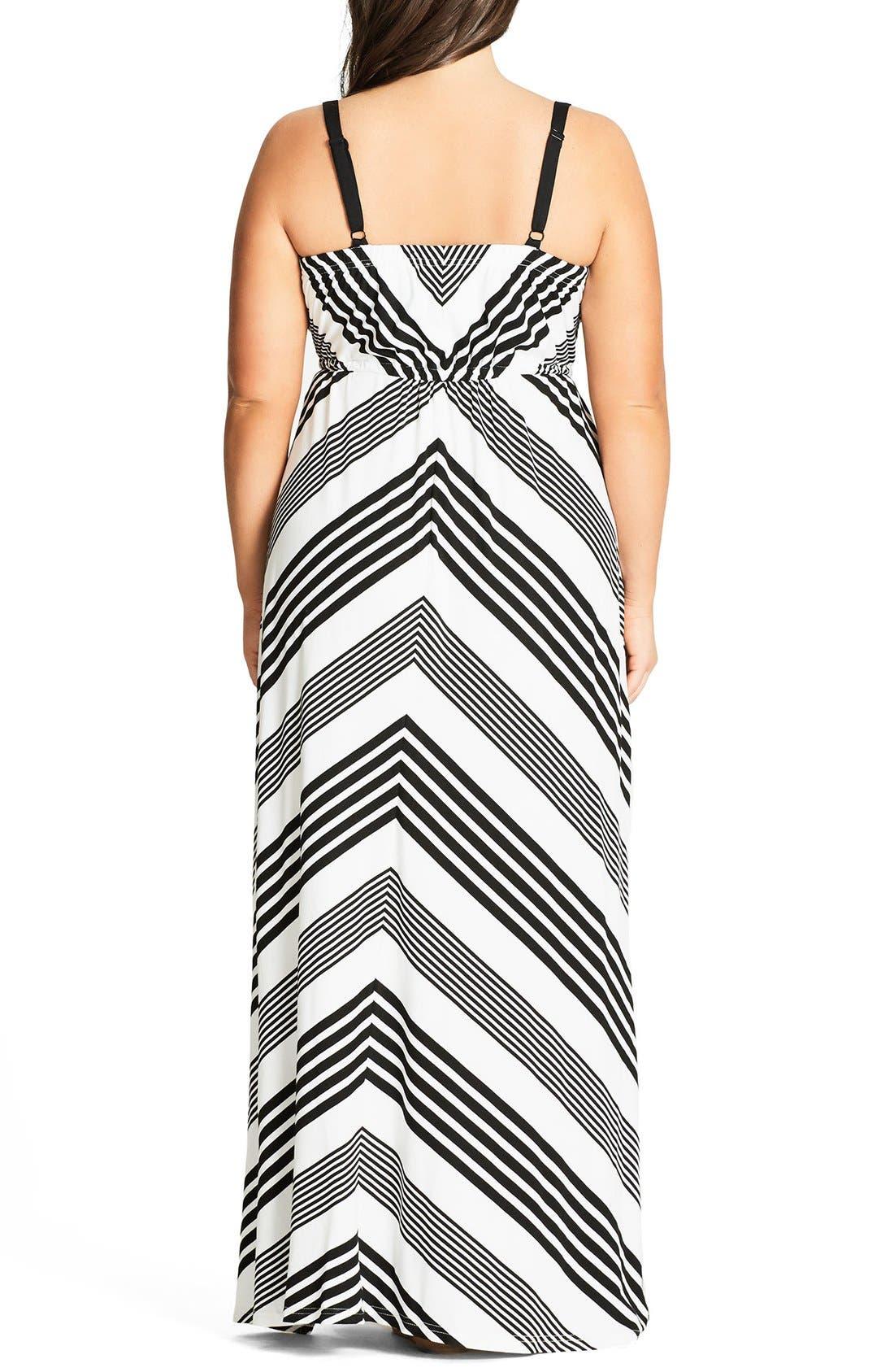 Alternate Image 2  - City Chic Stripe Maxi Dress (Plus Size)