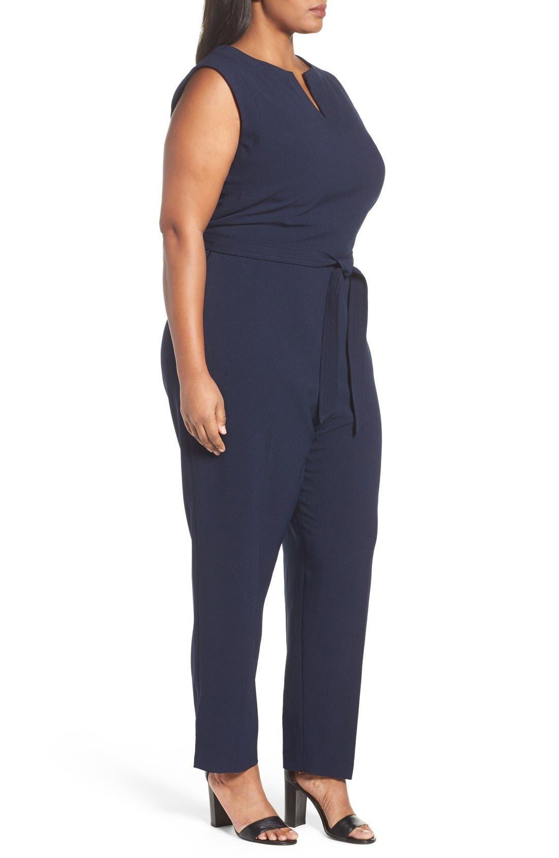 Alternate Image 3  - Vince Camuto Tie Waist Sleeveless Crepe Jumpsuit (Plus Size)