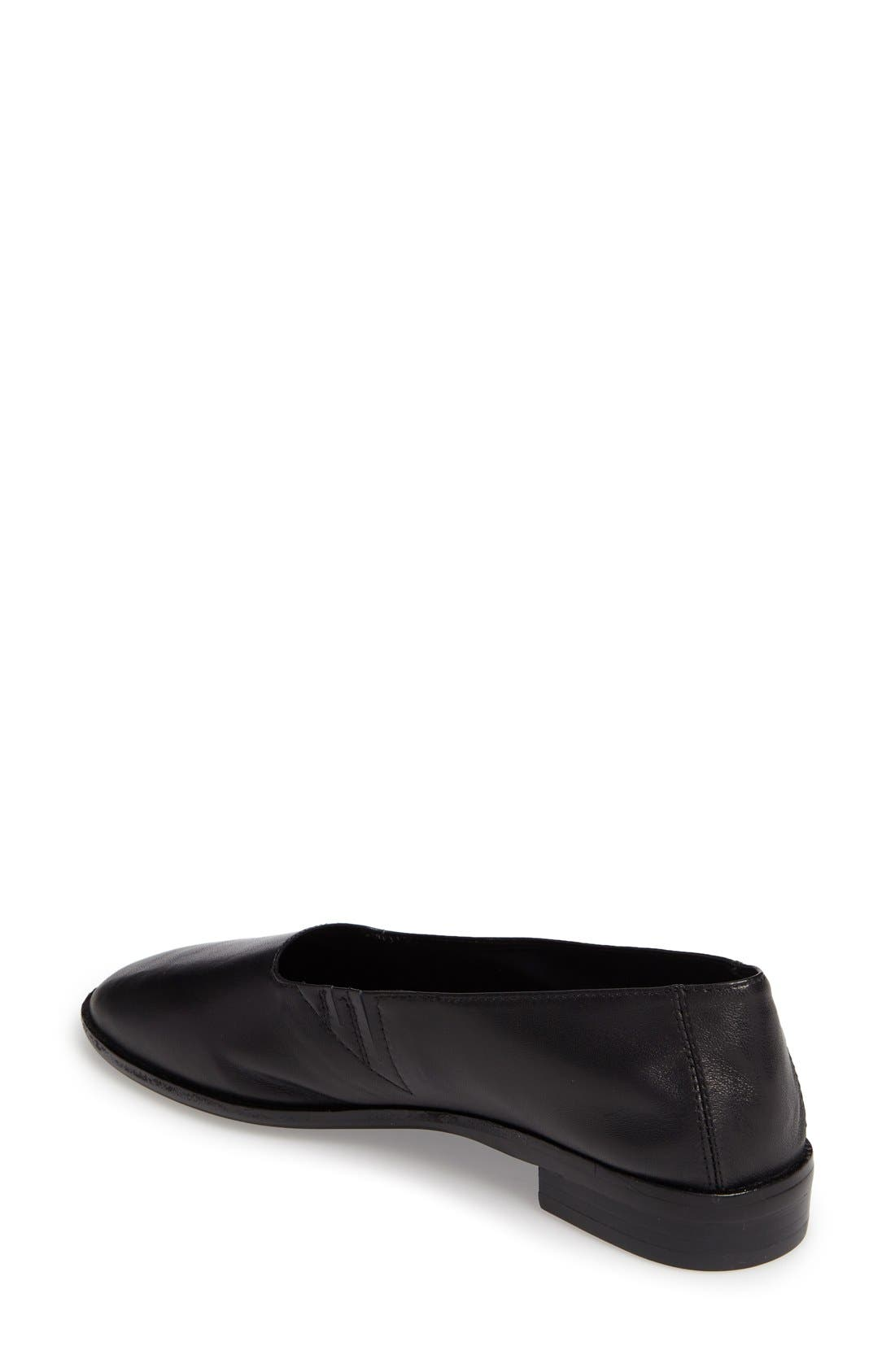 'Jordan' Flat,                             Alternate thumbnail 2, color,                             Black Leather