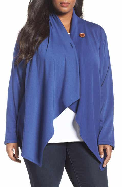 Bobeau One-Button Fleece Cardigan (Plus Size) by BOBEAU