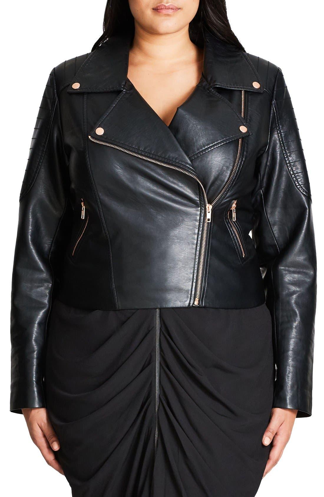 Faux Leather Biker Jacket,                         Main,                         color, Black