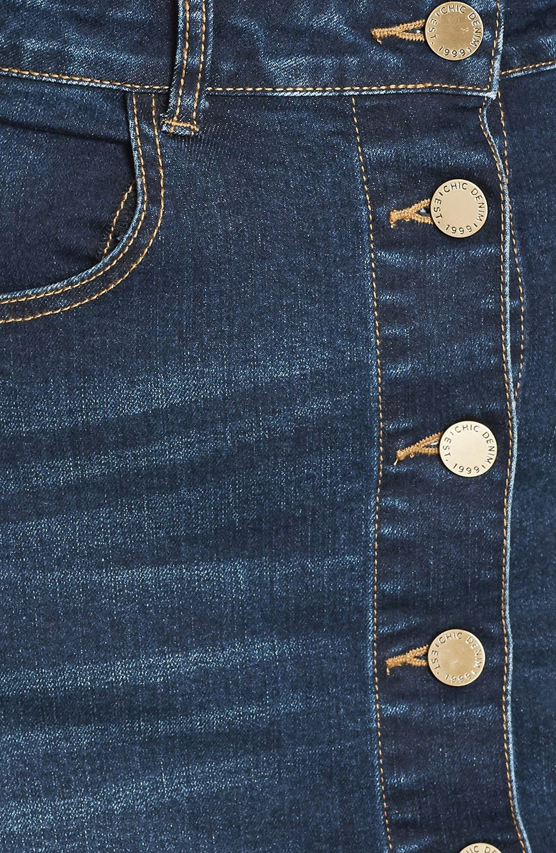 Pin Up Denim Skirt,                             Alternate thumbnail 6, color,                             Denim Mid