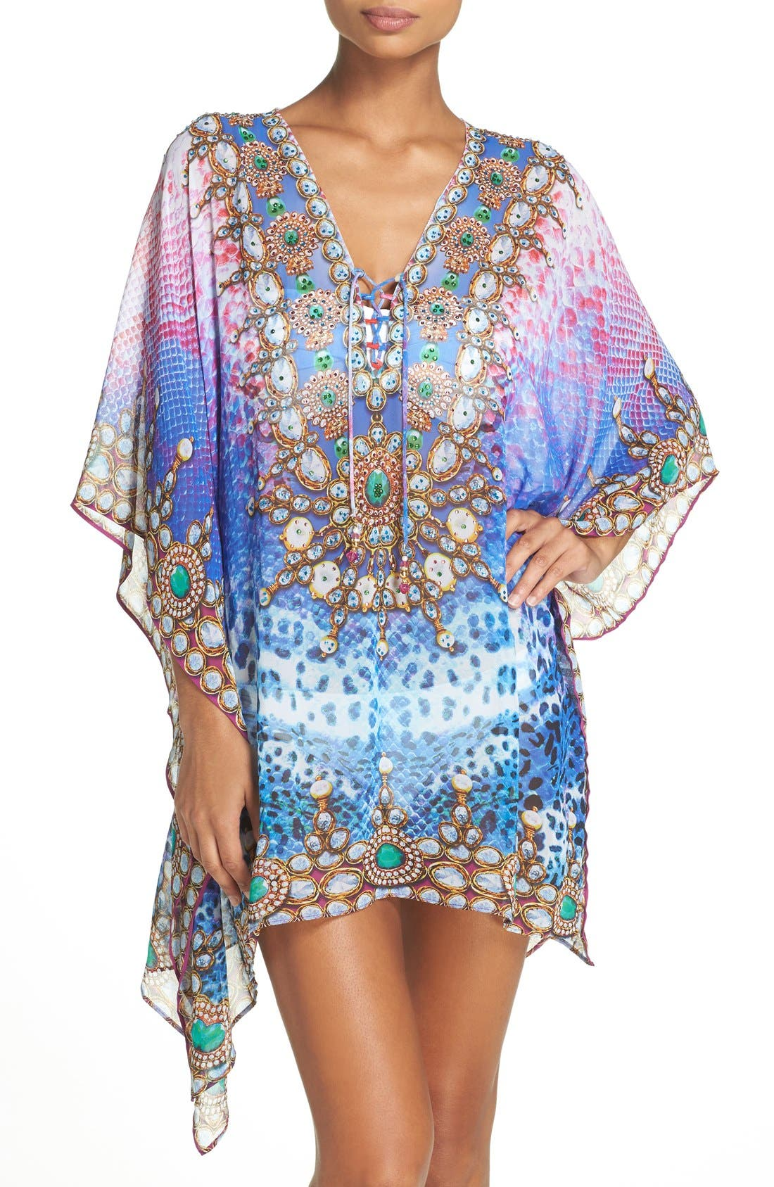 Bora Bora Short Kaftan,                             Main thumbnail 1, color,                             Multi Blue/ Pink
