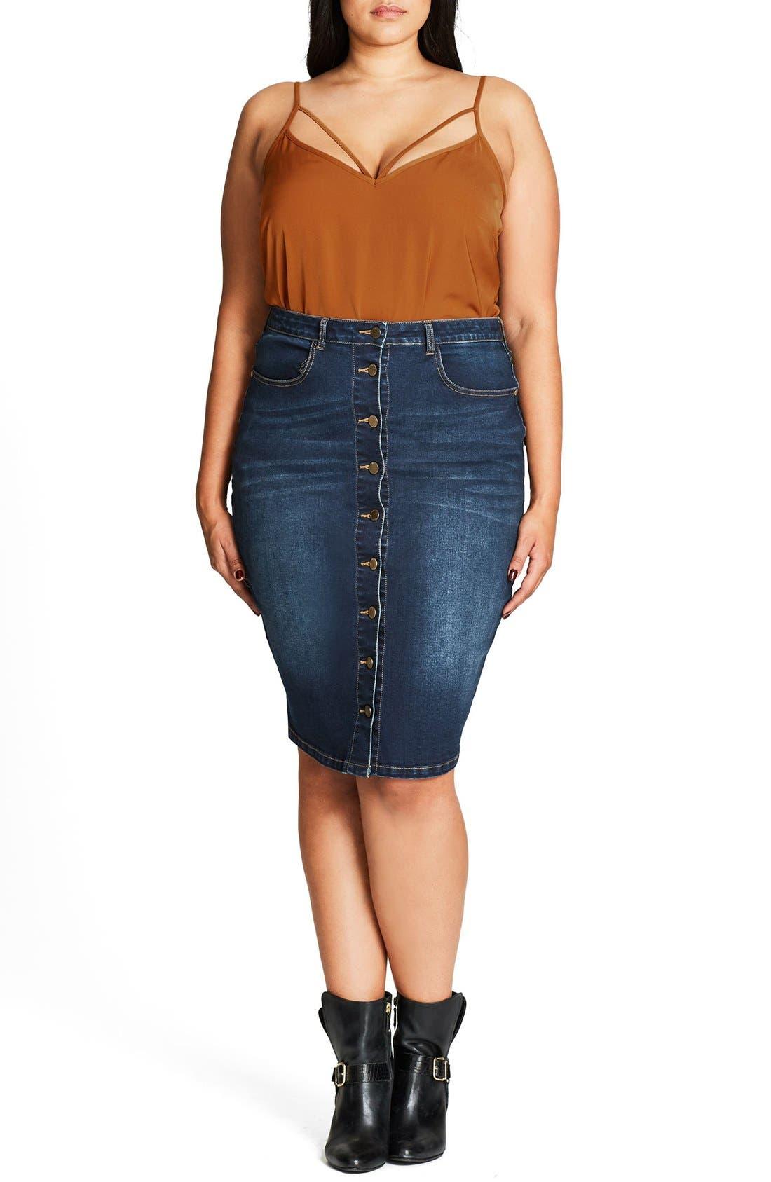 Pin Up Denim Skirt,                             Alternate thumbnail 3, color,                             Denim Mid