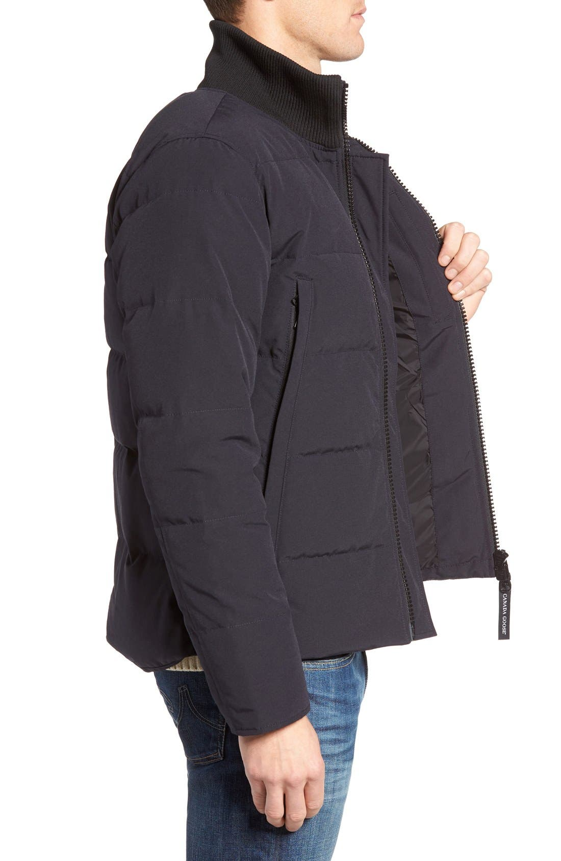 'Woolford' Down Bomber Jacket,                             Alternate thumbnail 3, color,                             Navy