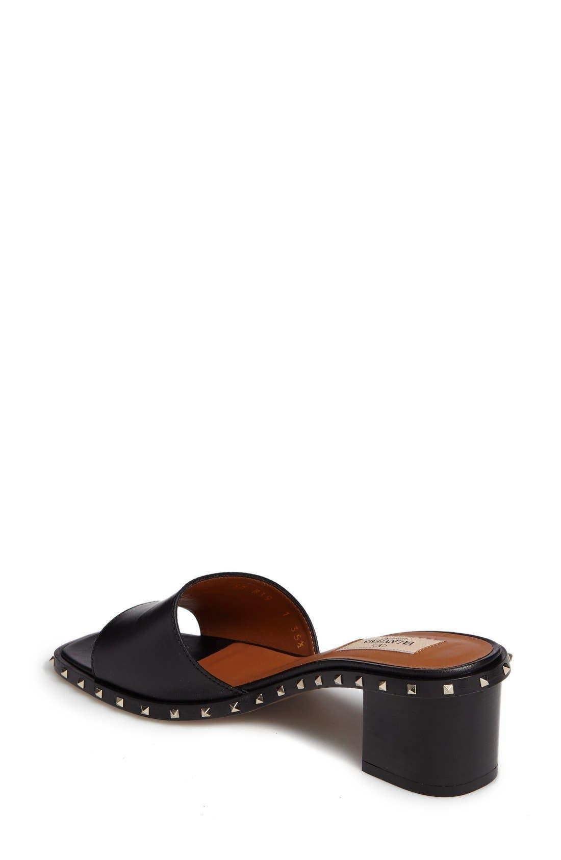 Soul Studded Slide Sandal,                             Alternate thumbnail 2, color,                             Black Leather