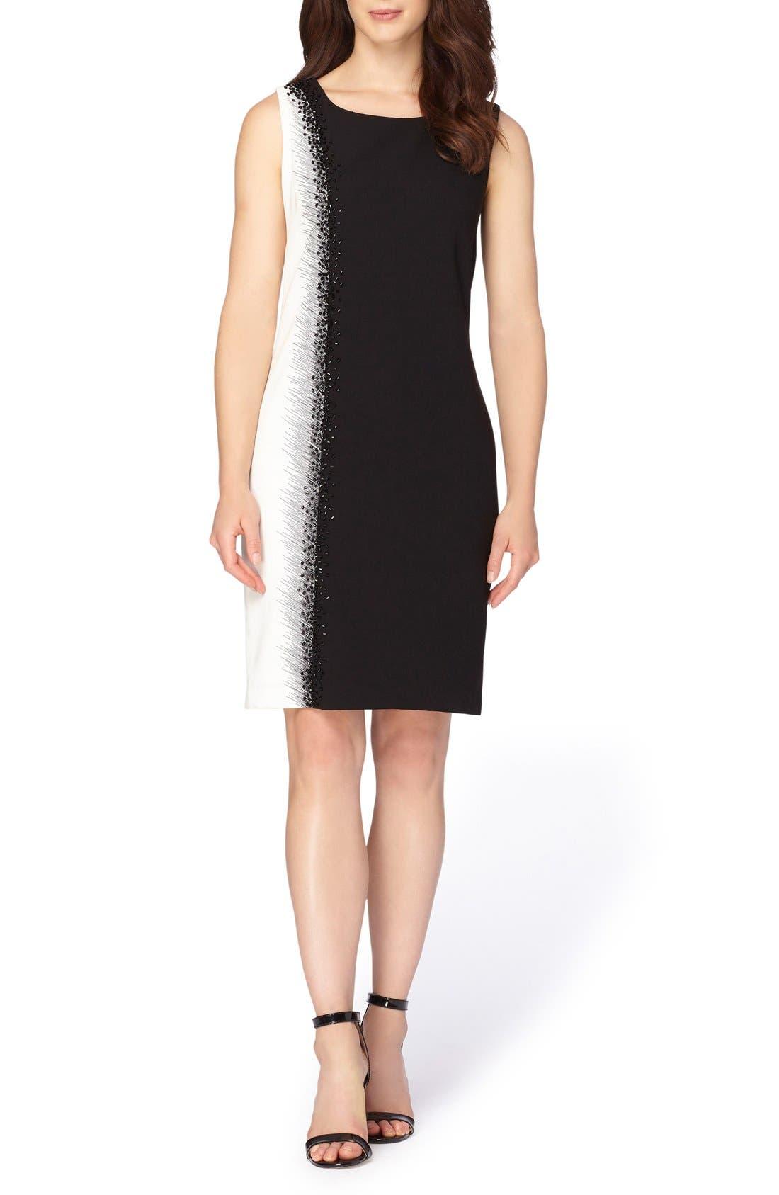 Embellished Sheath Dress,                             Alternate thumbnail 3, color,                             Black/ Ivory