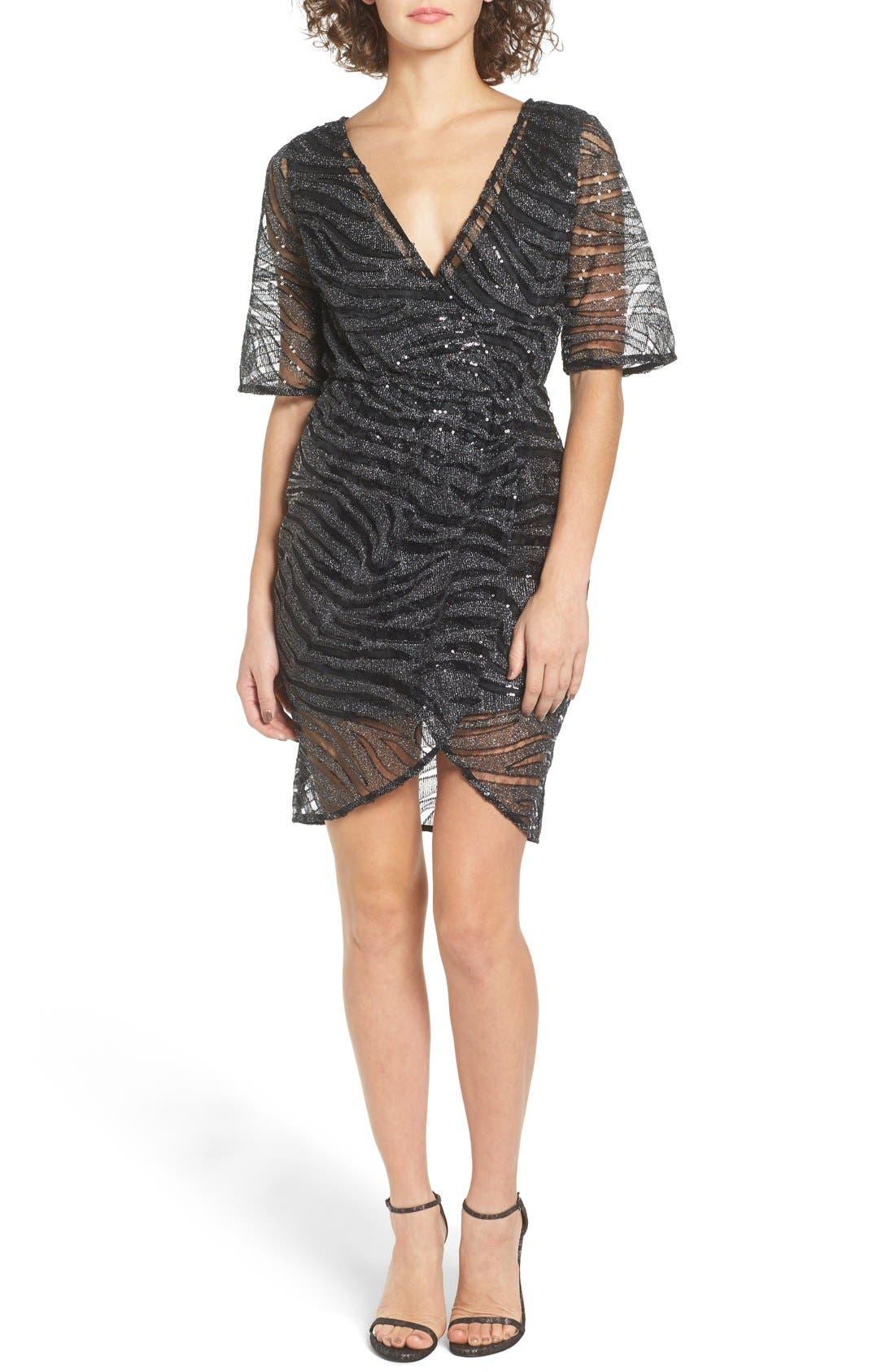 Alternate Image 1 Selected - TFNC Gin Illusion Animal Print Dress