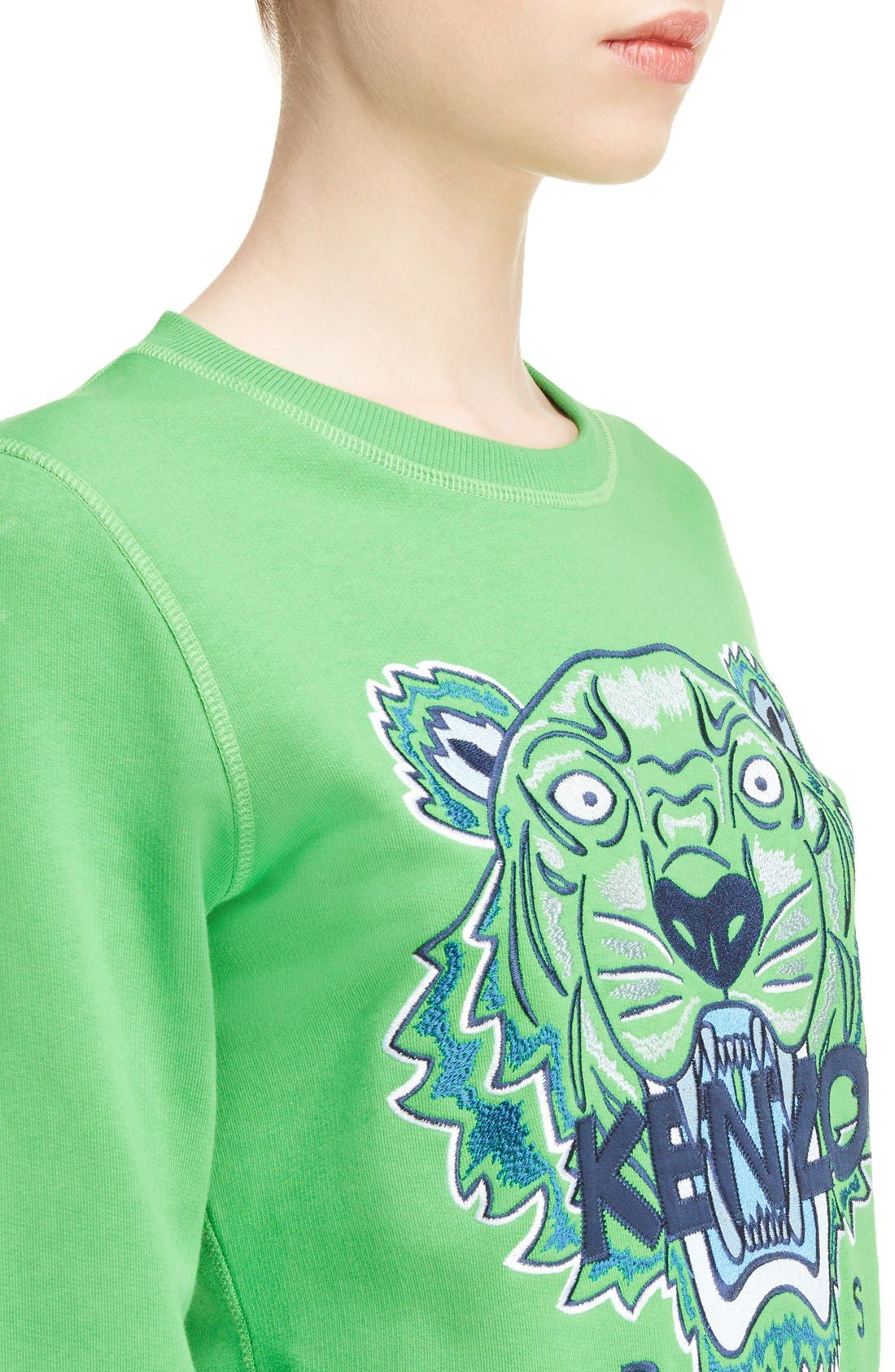 Embroidered Tiger Cotton Sweatshirt,                             Alternate thumbnail 4, color,                             Grass Green